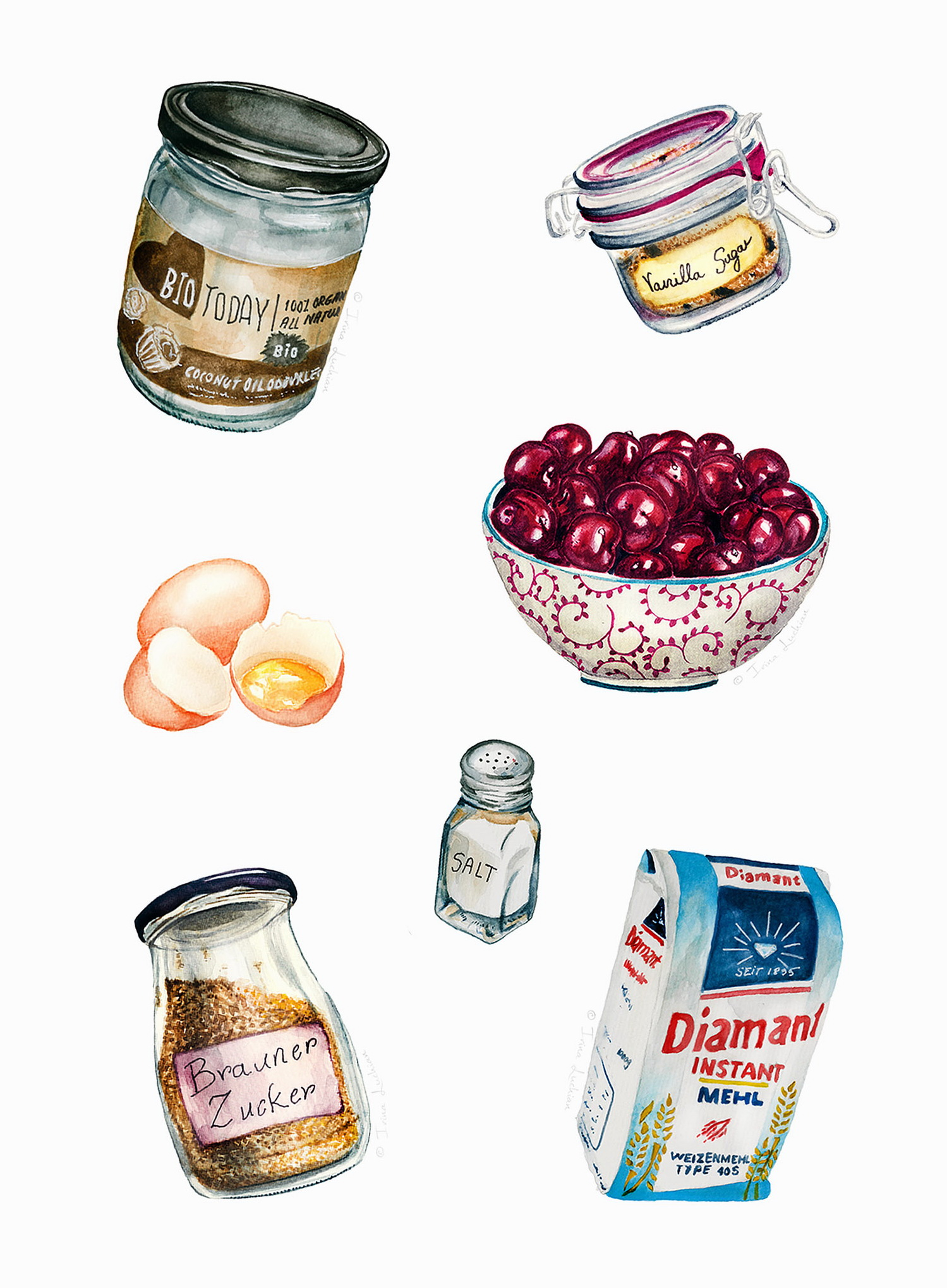Illustrated ingredients for Sour Cherry Cake recipe They Draw and Cook Editorial illustration