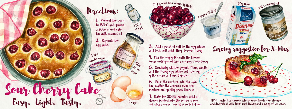 Illustrated Sour Cherry Cake recipe They Draw and Cook Editorial illustration