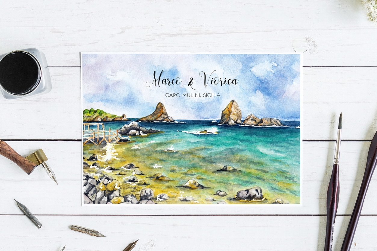 Sicilian wedding - illustrated invitation
