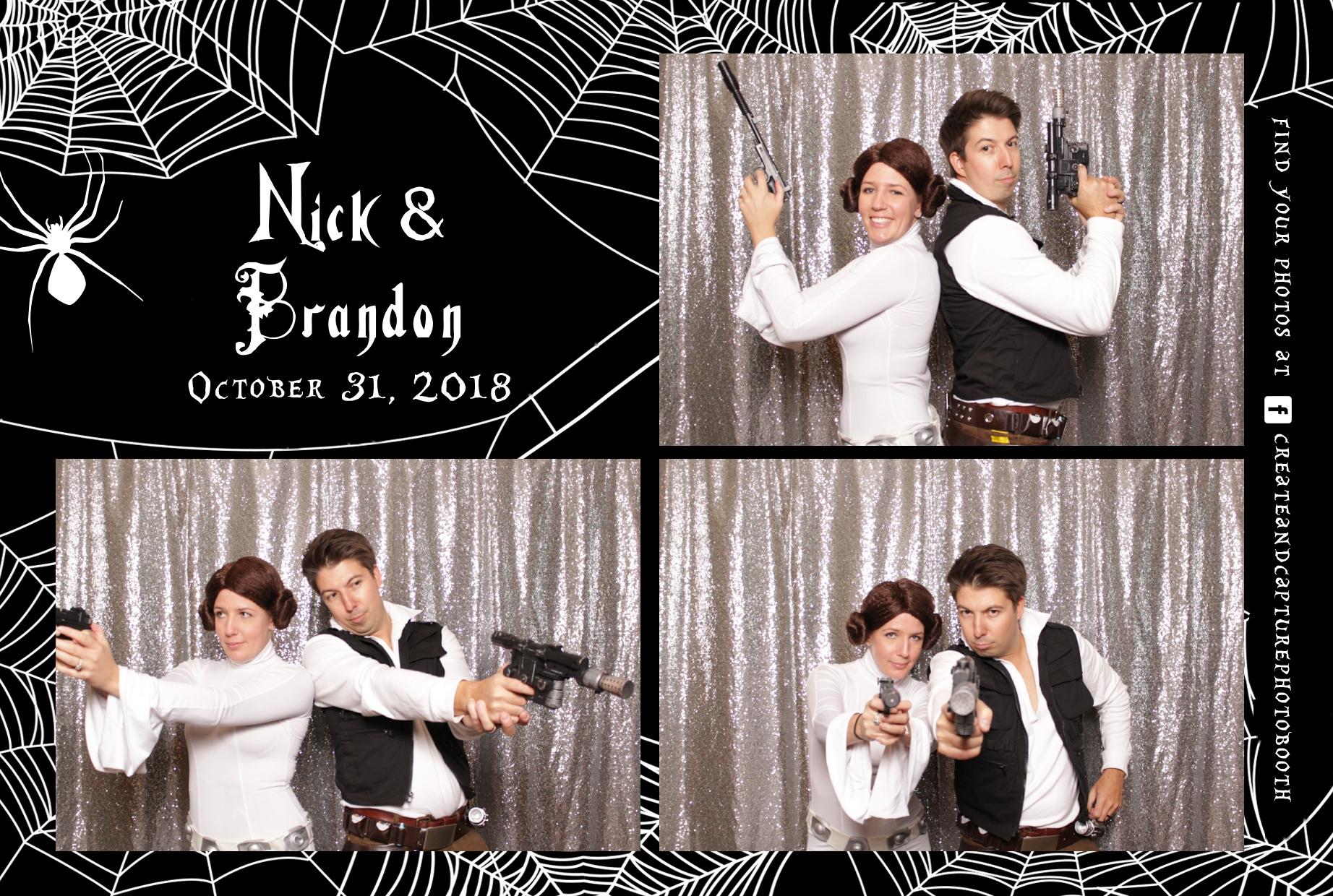 estes park halloween wedding, custom spiderweb graphics and sparkly silver backdrop