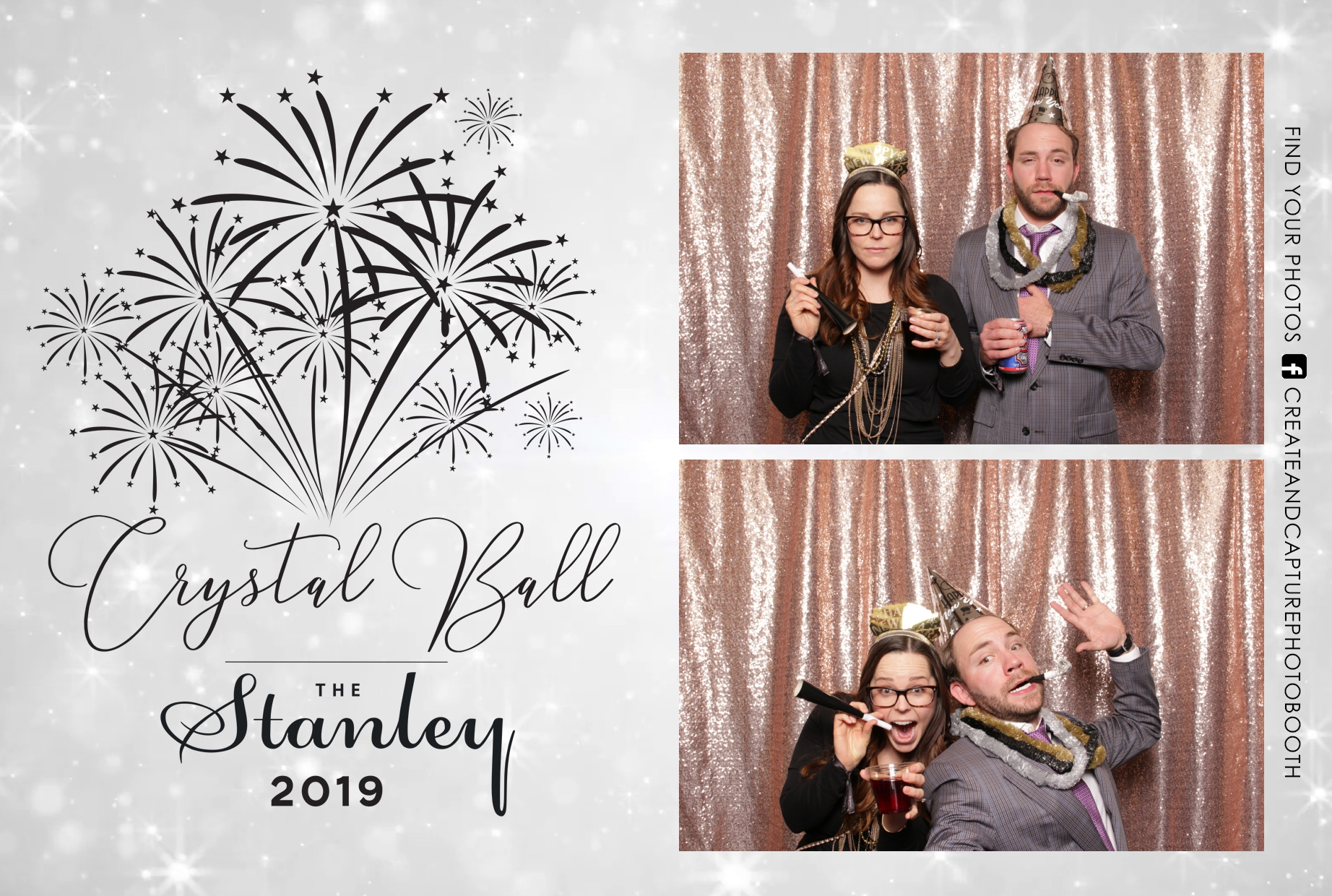 the stanley hotel new year's eve crystal ball, sparkly rose gold backdrop