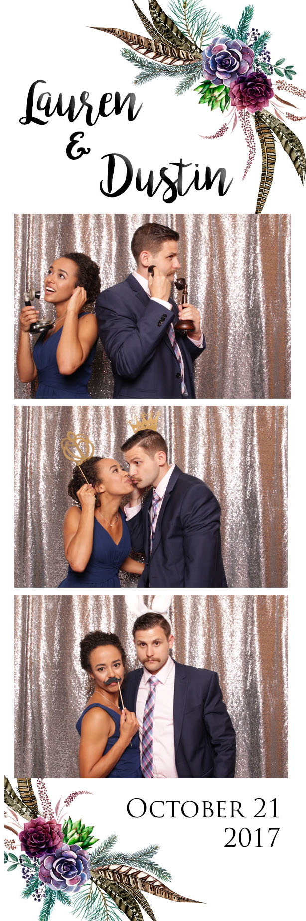 sparkly silver backdrop twin owlsteakhouse wedding