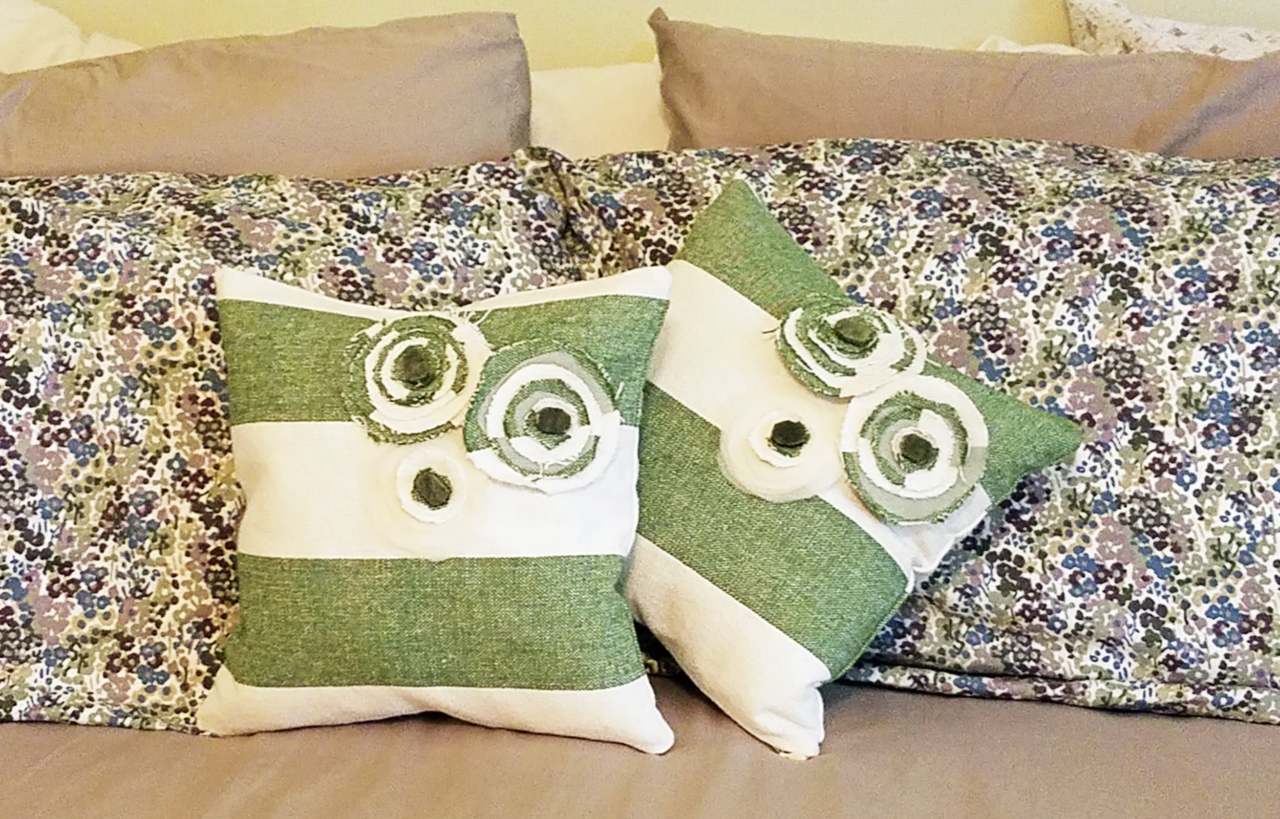 Custom green and white pillows with Jade