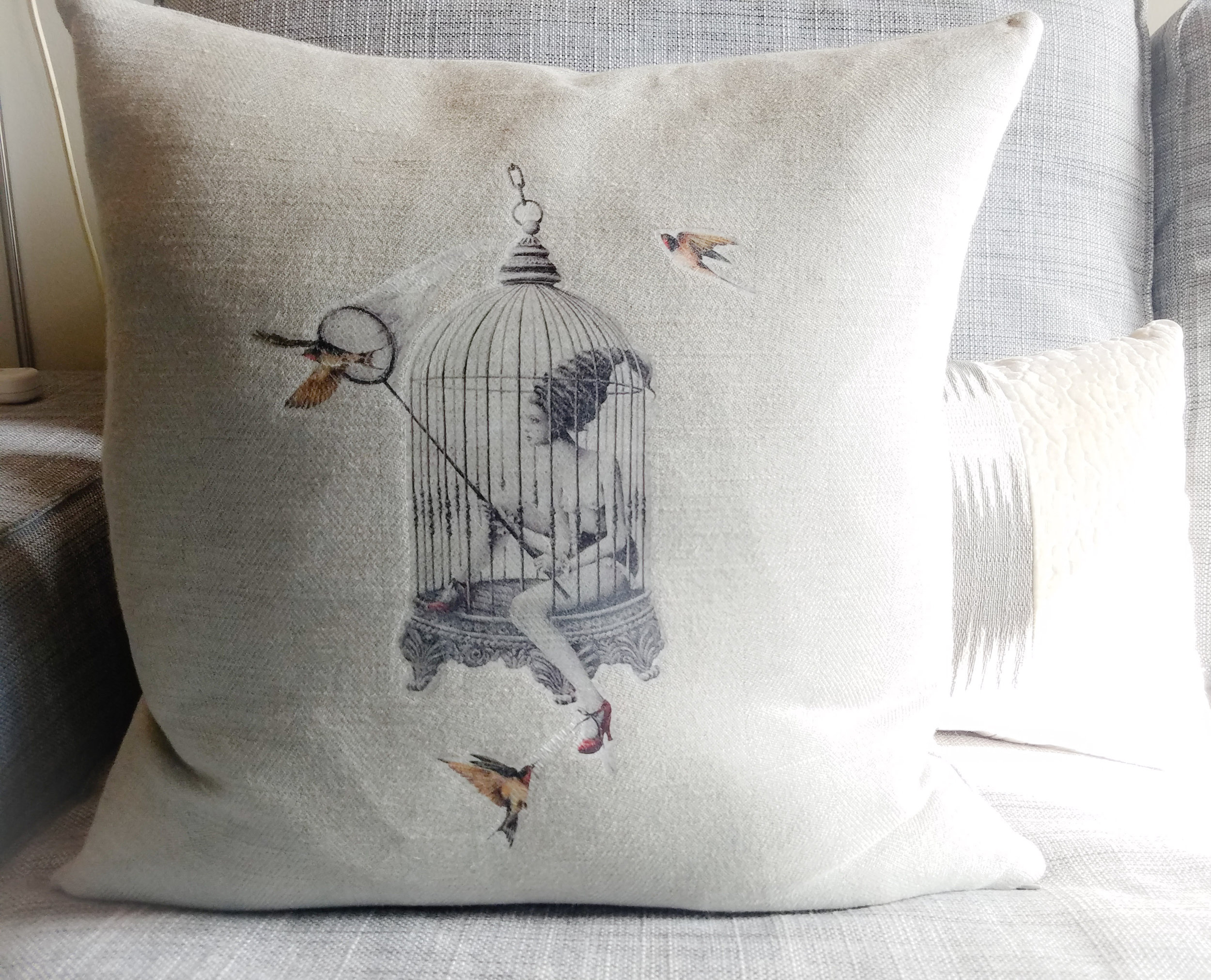 Caged Lady pillow