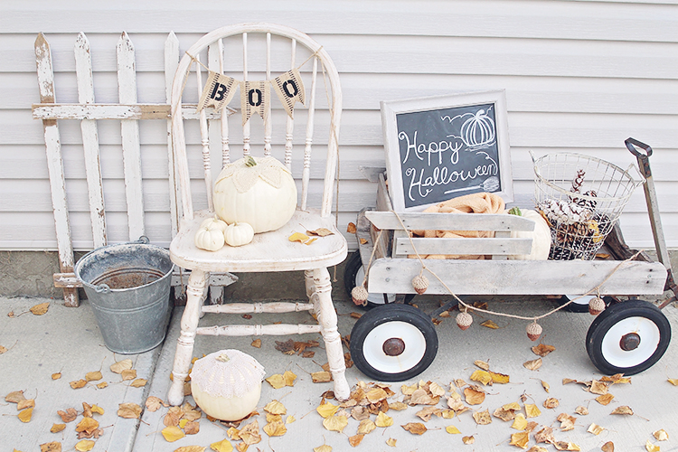 Go tonal and shabby chic with your Halloween decor.