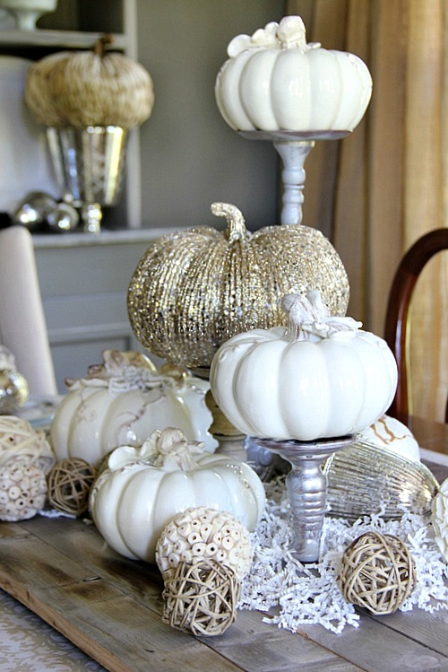 Stay tonal and glamorous with ceramic and beaded pumpkins.  Check out your local craft store for these items.