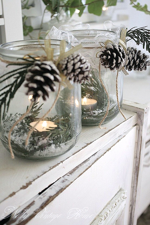 Decorate mason jars for votive candles.
