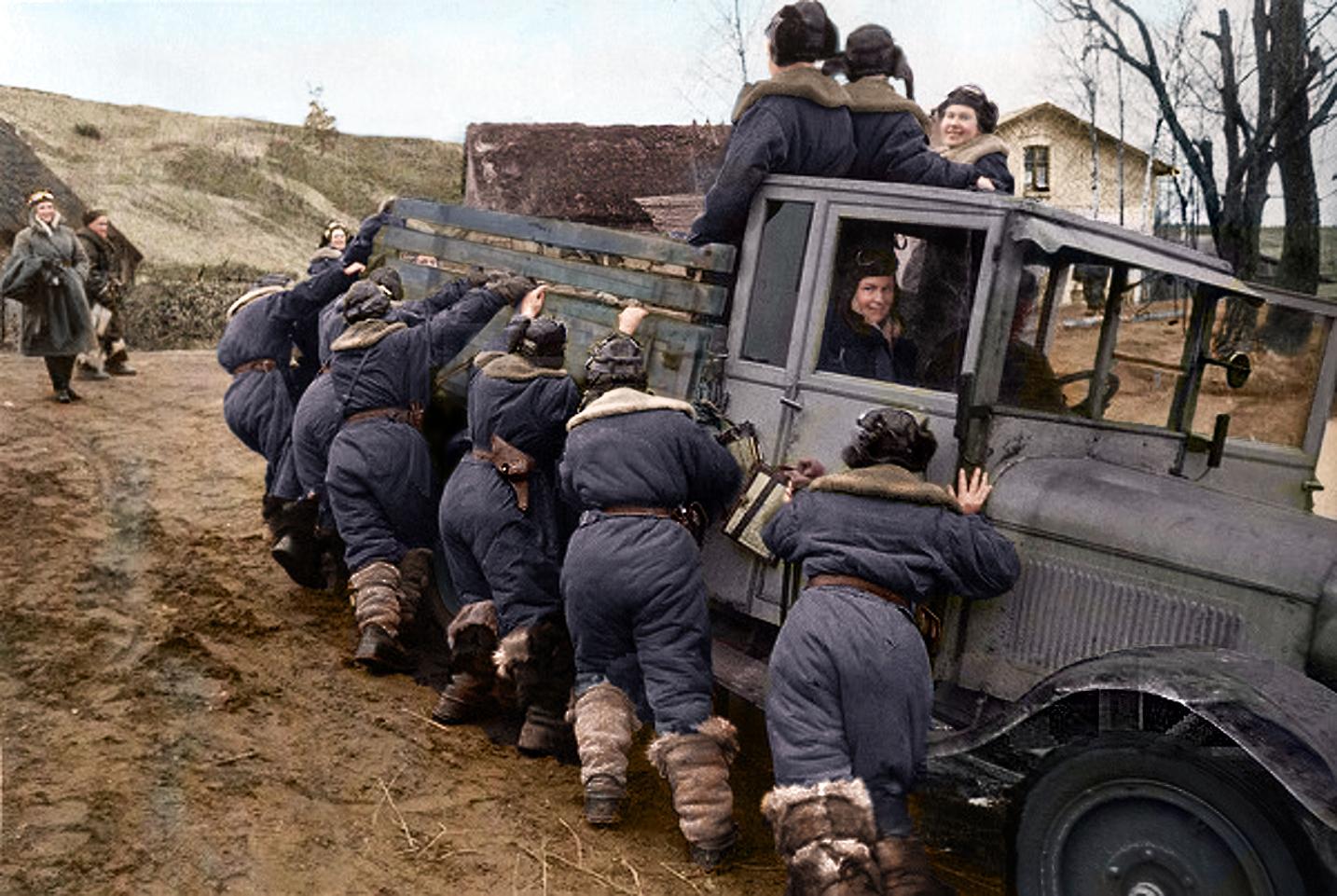 Crimea 1944 - Soviet Female Fighter Pilots pushinga ZIS-5 lorry