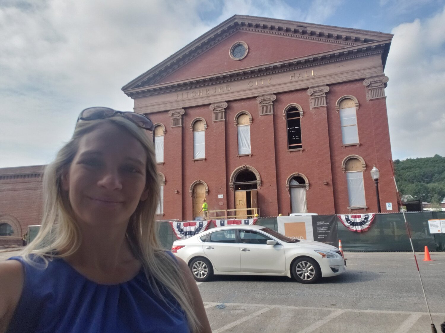 This  #CityHallSelfie  is @FitchburgMass 4th Meeting House and Official City Hall built in 1853 at 718 Main St; abandoned in 2012 due to structural roof failure from longtime roof leaks. $23.5M was appropriated in 2018 to rehab & we expect to reopen late 2020. @ELGL50