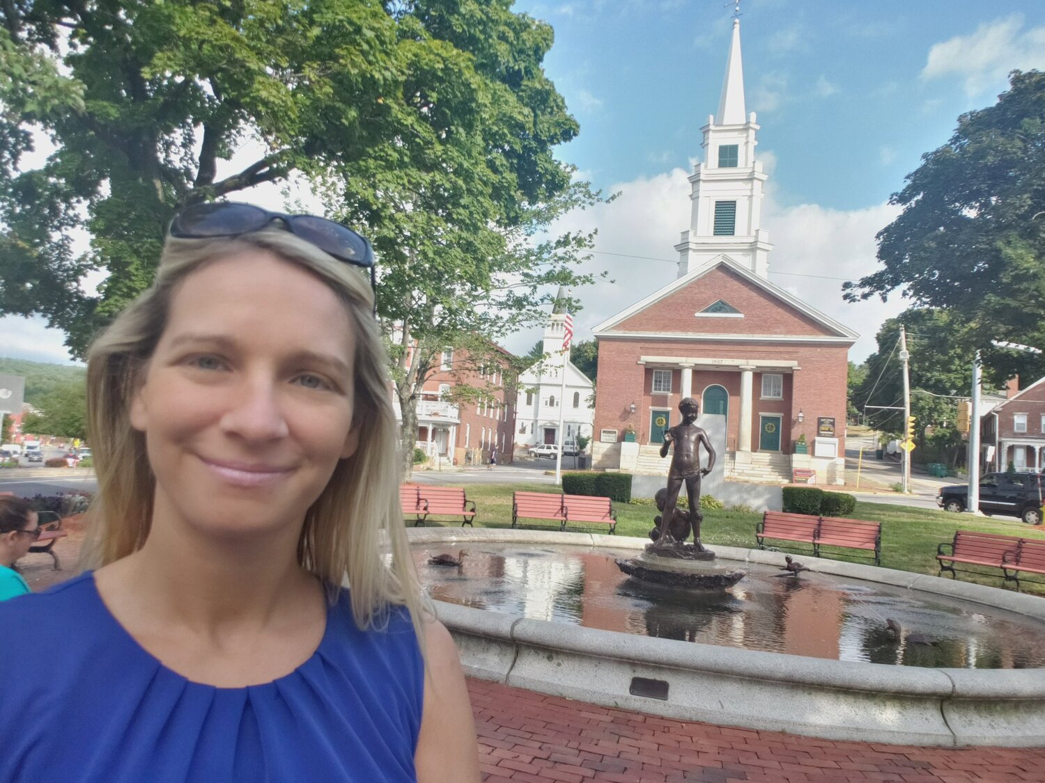 This  #CityHallSelfie  is at the original location of our 2nd Meetinghouse at 923 Main St (now moved to 900 Main St). This 'new' church was built in 1837...and then served as our '3rd' Meeting House until our 1853 City Hall was built at a cost of $40k. @ELGL50