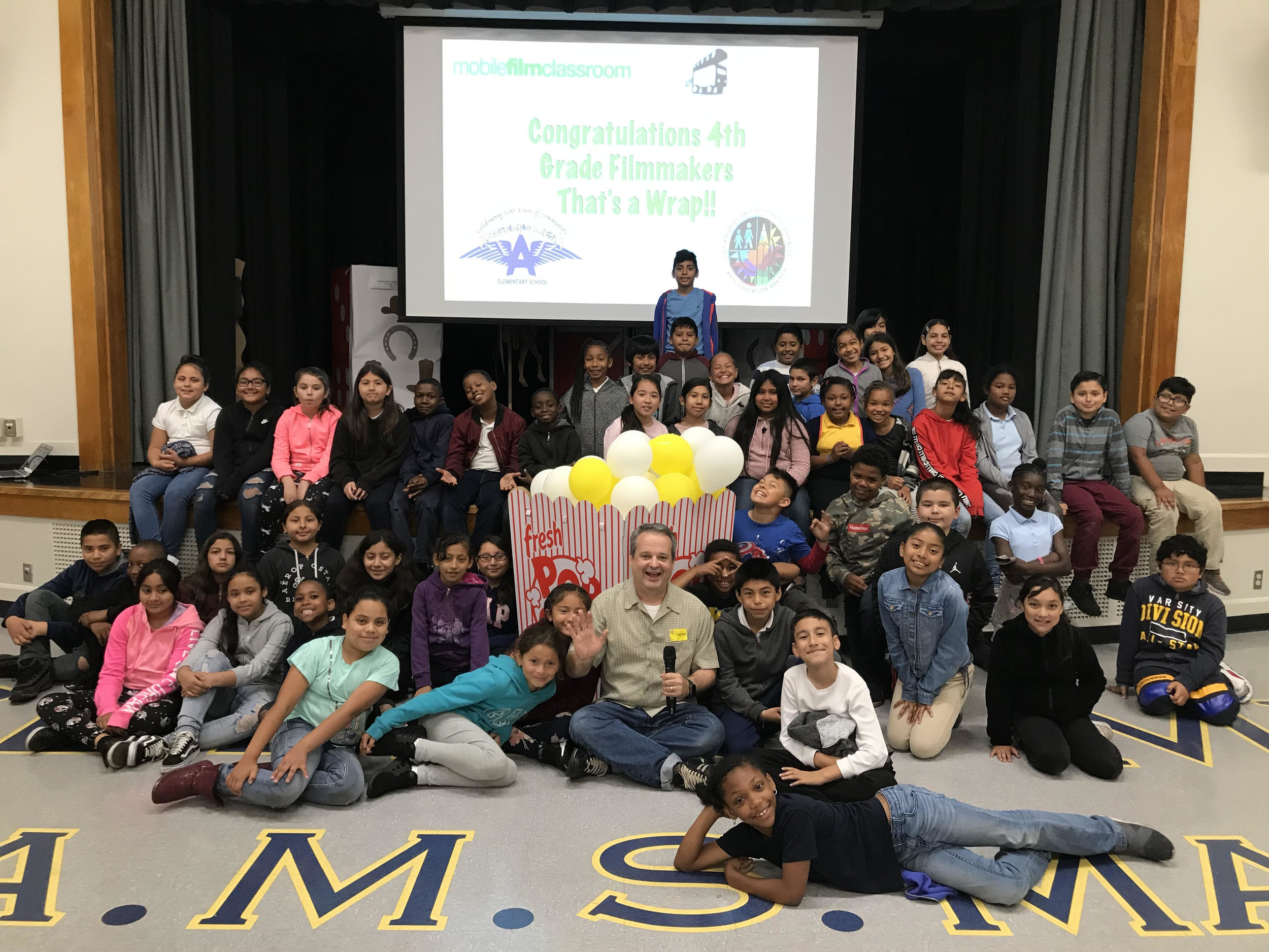 Frank and 4th grade students premiere their films at Angeles Mesa DREAM Magnet Elementary