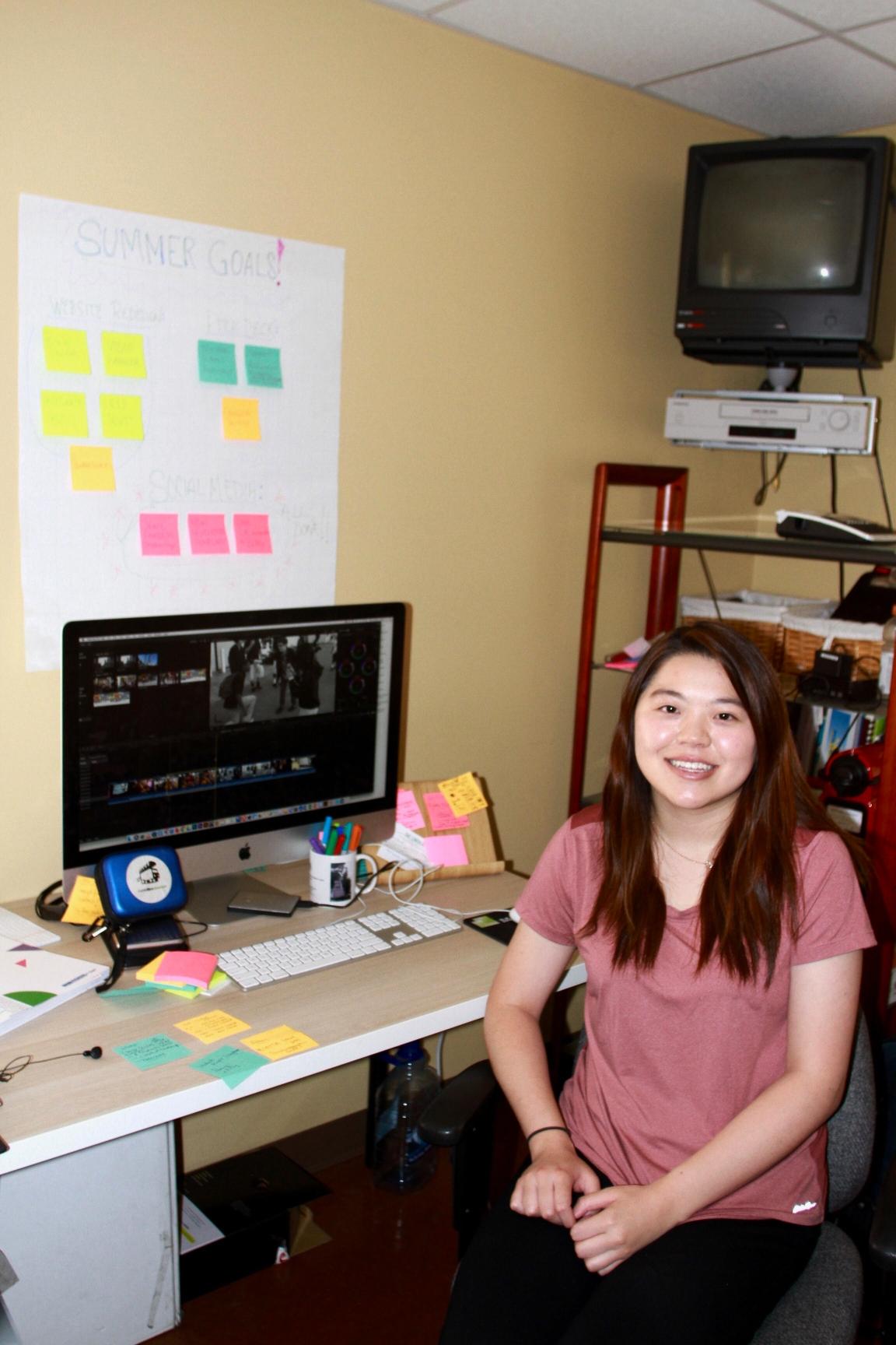 Winnie learning Final Cut Pro X.
