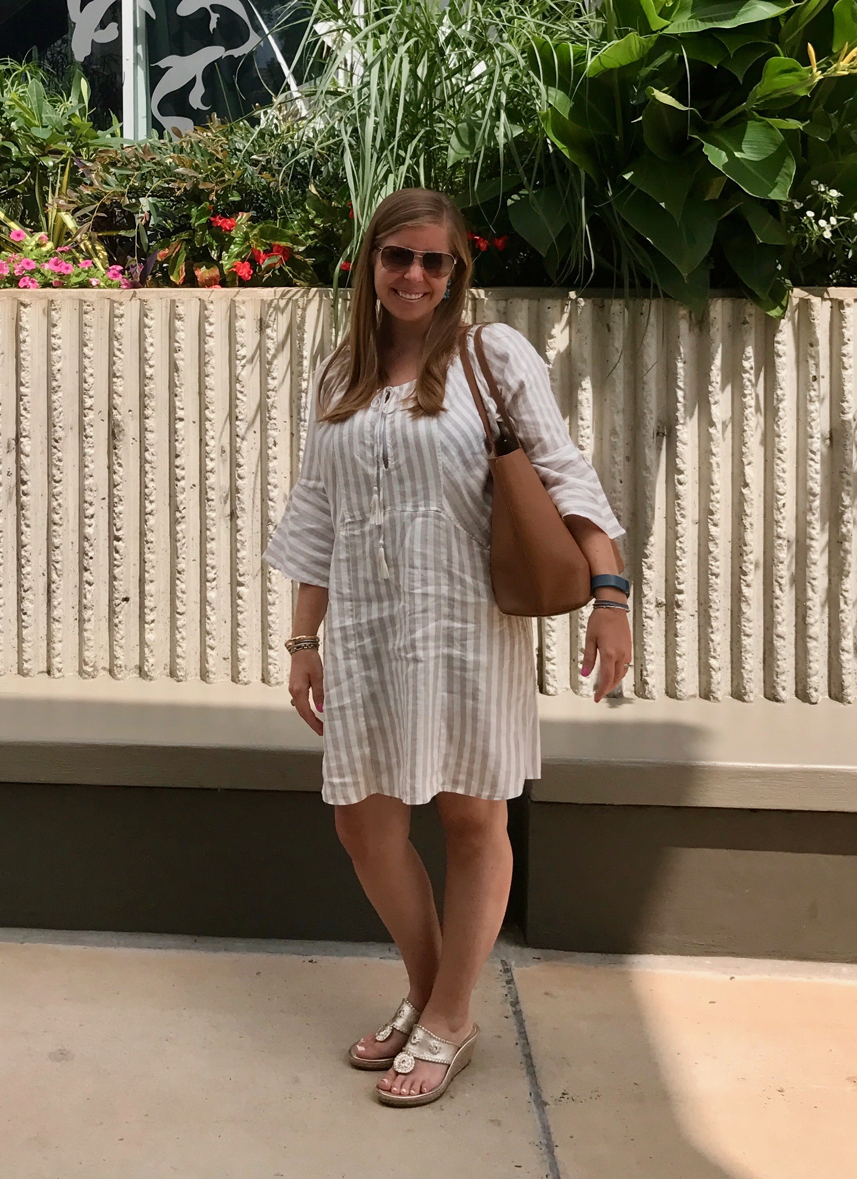 Outfit Details:    Free People Dress   //   Jack Rogers Sandals   //   Tory Burch Bag (sold out)  ,   similar  //   Sugarfix by BaubleBar Earrings