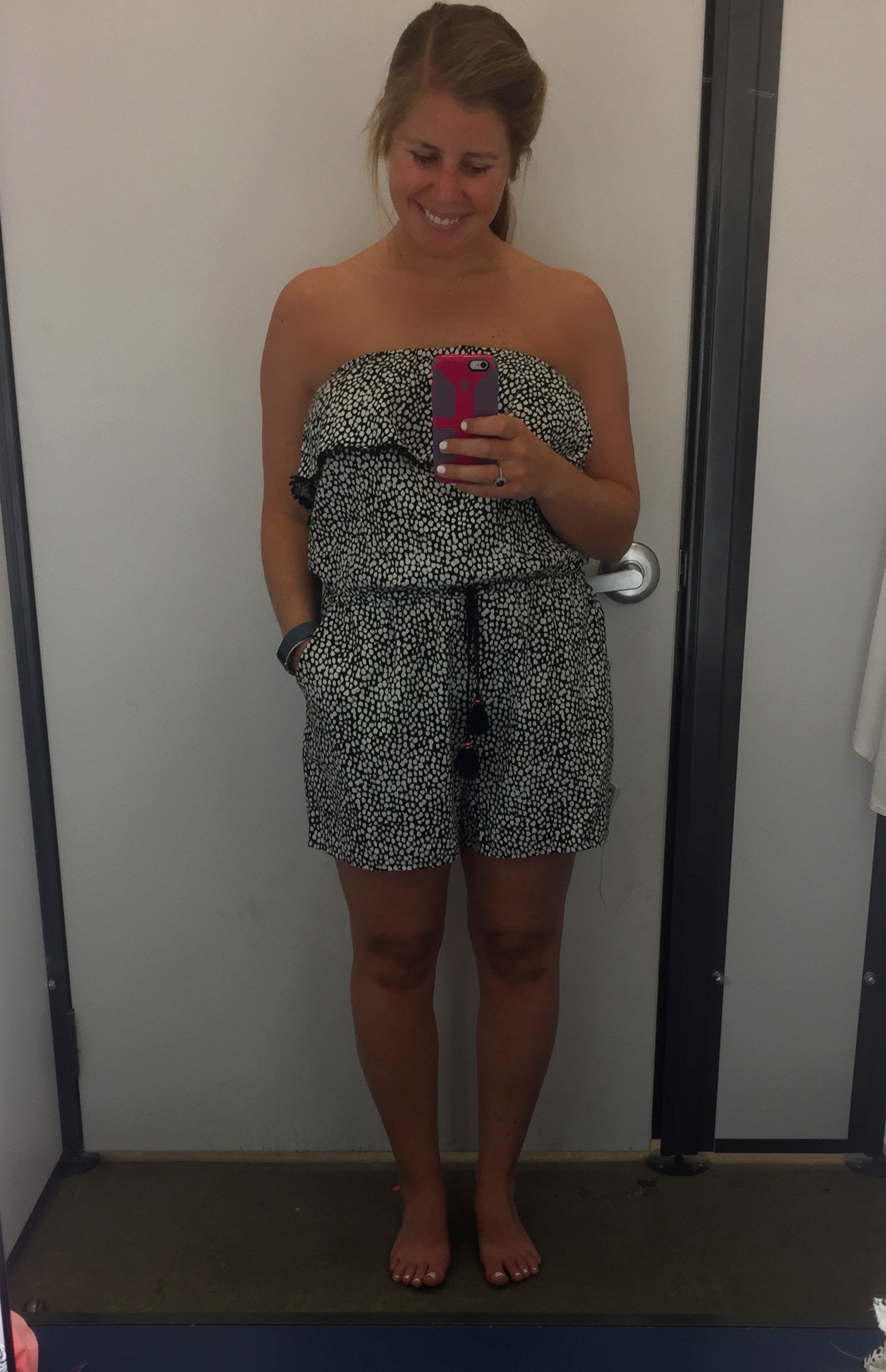 Again, rompers are not my best look, so I didn't get this. I tucked in the straps because I liked the strapless look better. It is made to be a halter though. Love the print!