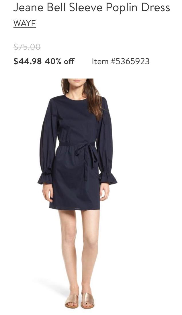 Bell Sleeve Poplin Dress