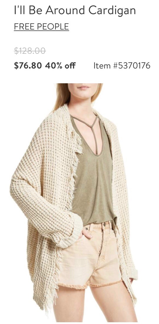 Free People Cardigan in Ivory