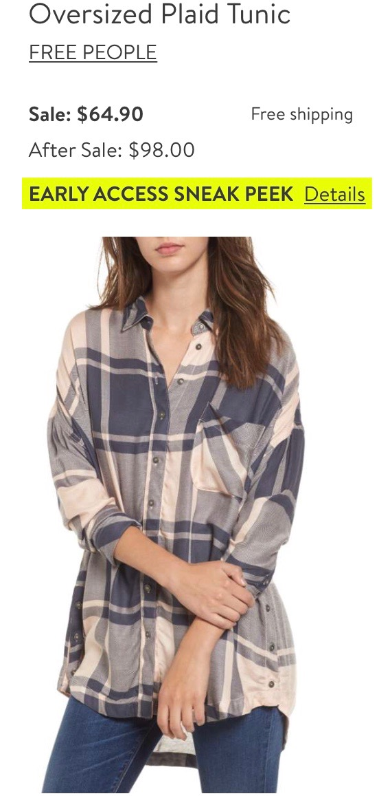 *Free People Plaid Tunic   - This sold out, but came back in stock, and I scooped it up immediately! My mom got this peach color, and I got the blue.
