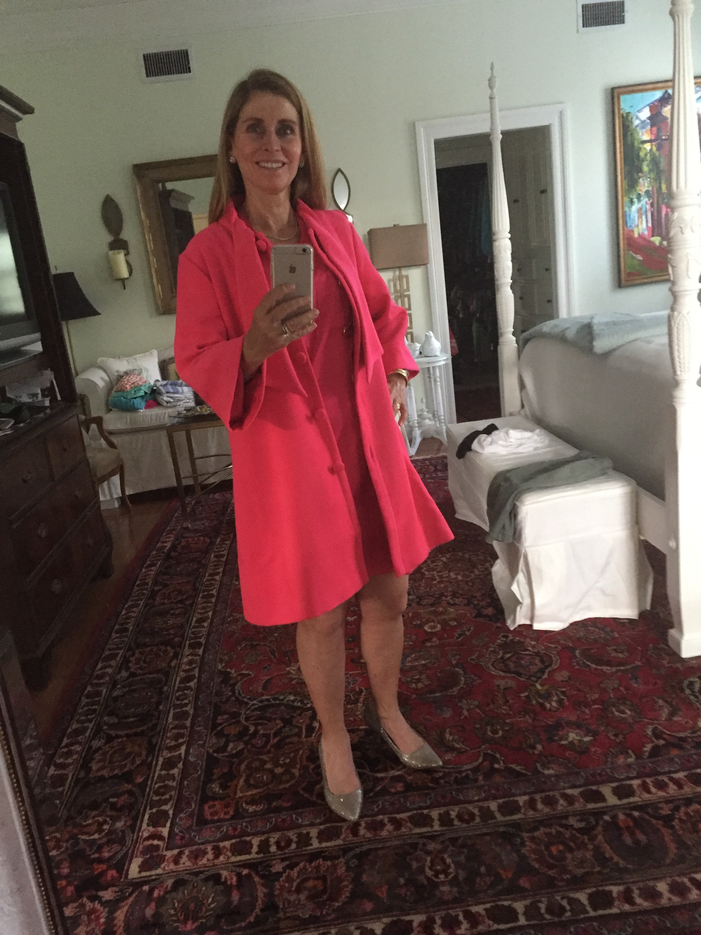 My mom in her hot pink Julie Brown coat and dress
