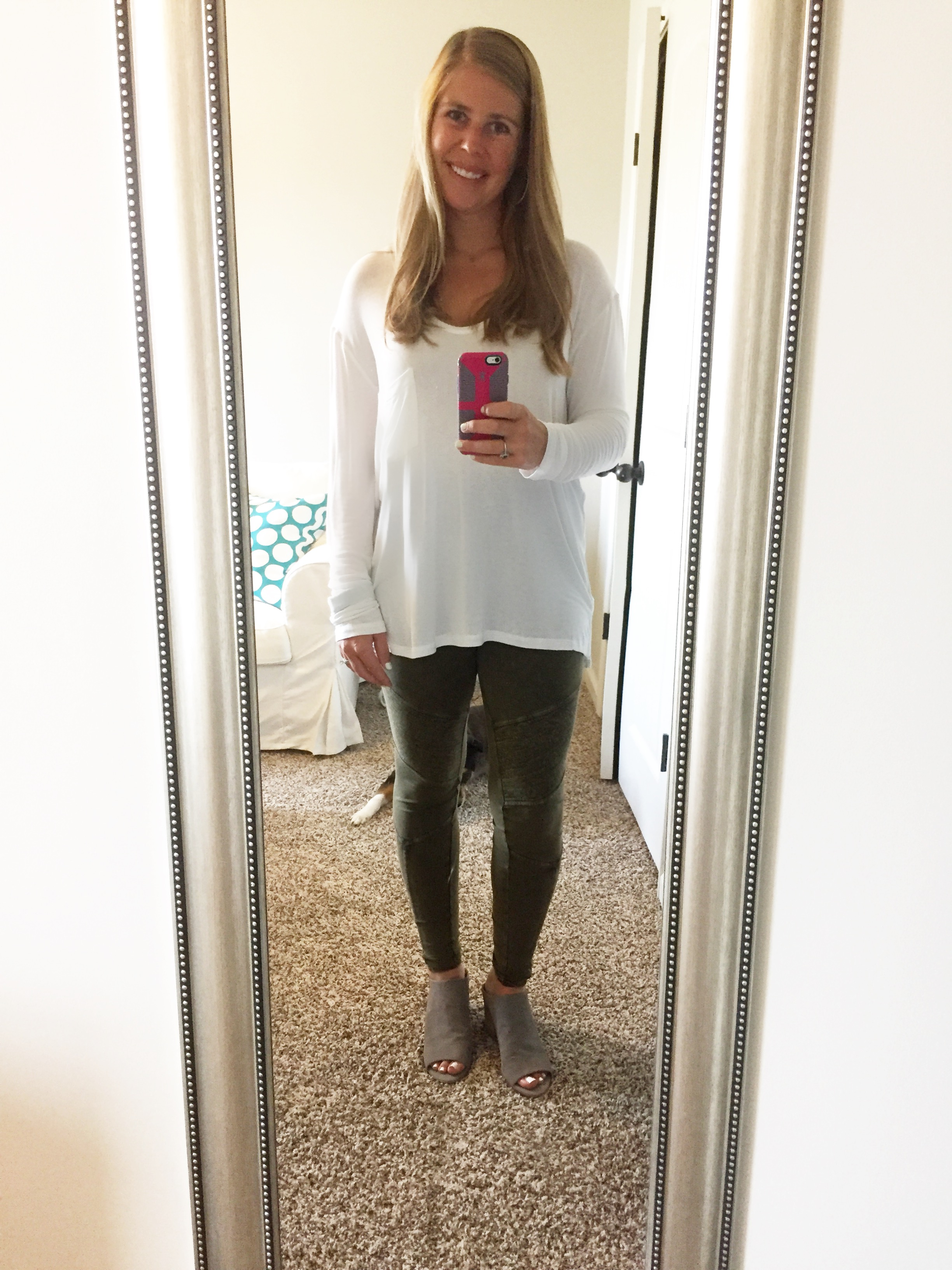 Pocket Tee (marked down from $29 to 14.49) //  Leggings (not on sale, but only $39)  //  Shoes- Macy's  &  Nordstrom (marked down from $98.98 to $49.47)