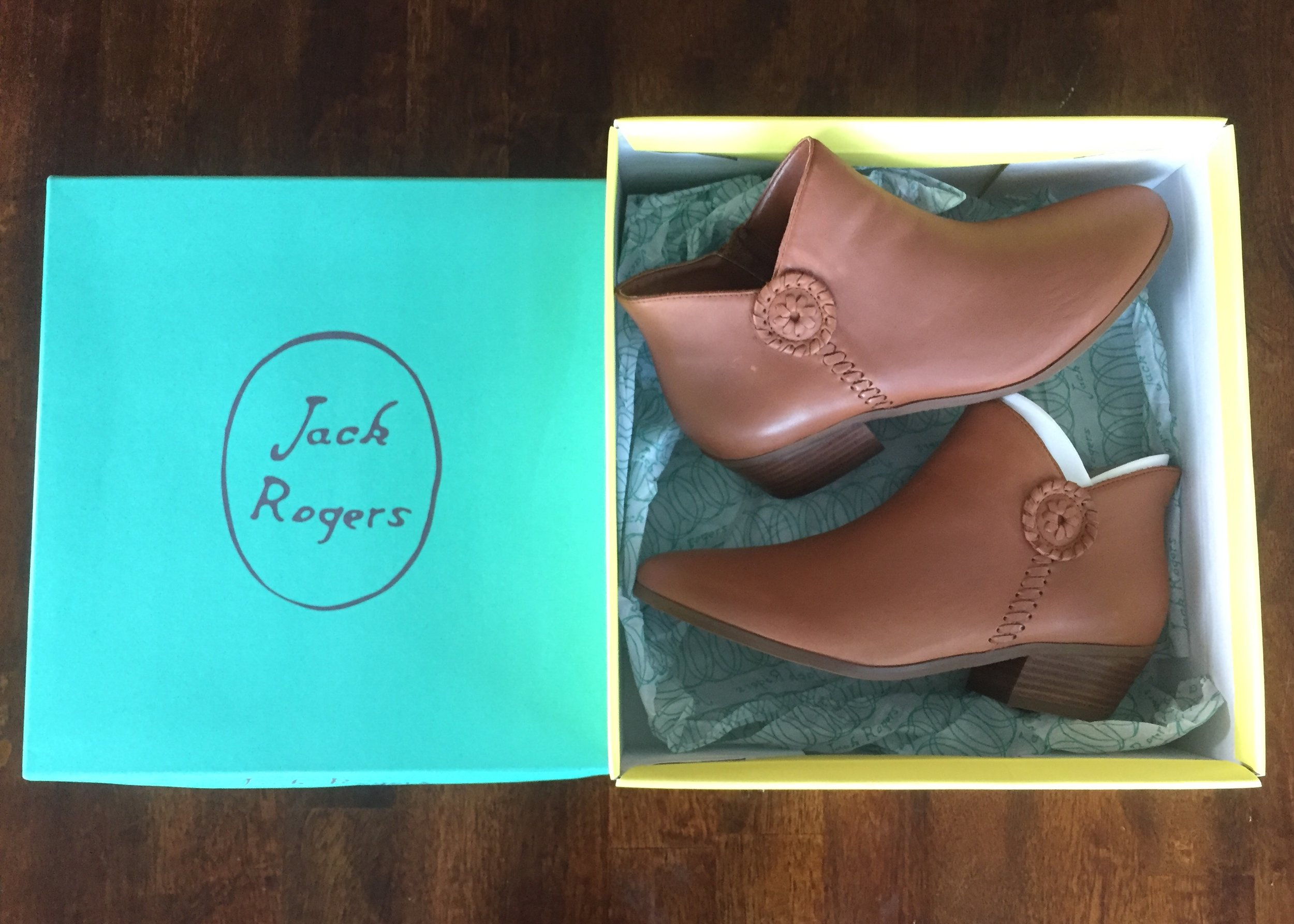 Of course I had to purchase these highly discounted Jack Rogers booties.   Click here   for the suede version on the Jack Rogers website. Or check out your Marshall's to see if they have them for under $60, which is what I paid for these!