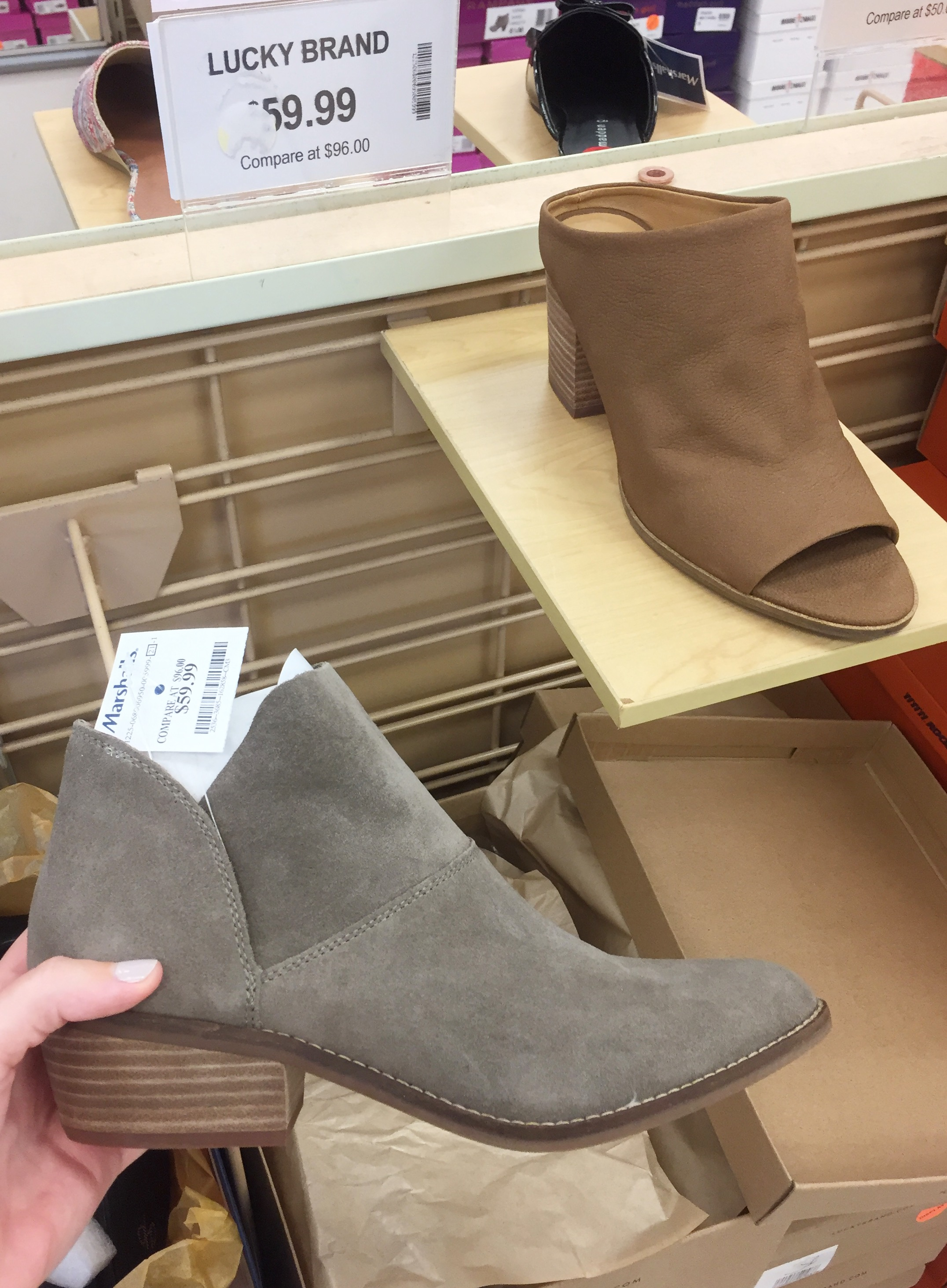 I saw those Lucky Brand mules in the background and couldn't believe my eyes. Those are basically the same shoes I've been wearing nonstop.   Click here   to see the limited sizes left at Nordstrom.I also saw the cute pair of Lucky Brand booties that I'm holding and wanted them too.
