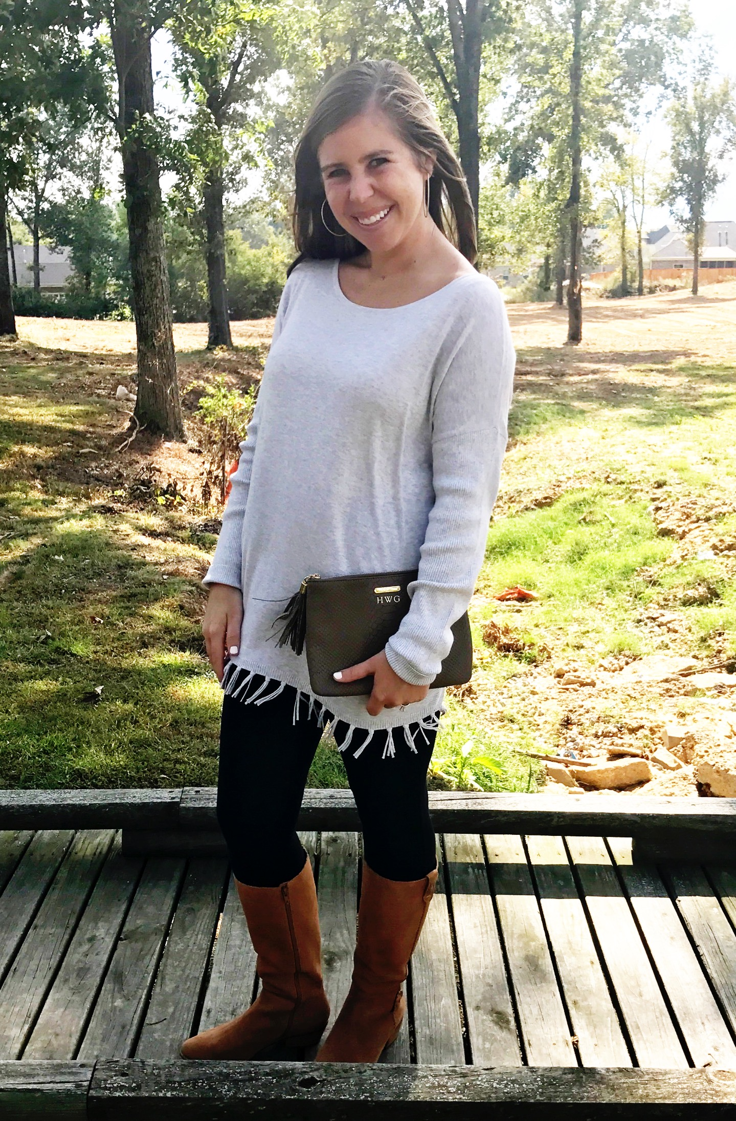 Sweater  //  Leggings  //  Boots  //  Bag (30% off with free personalization!)