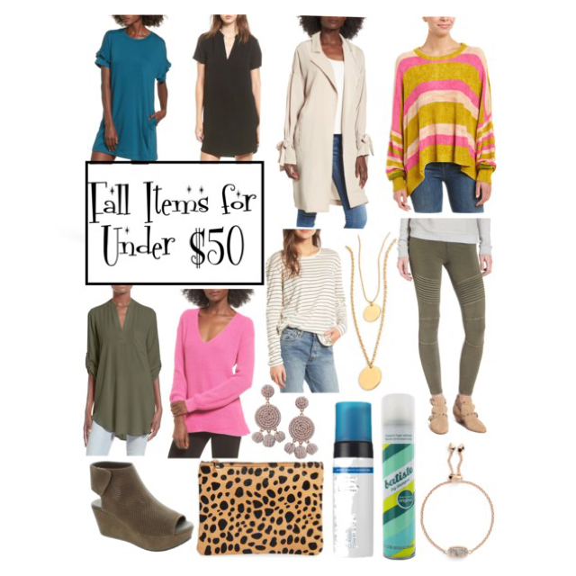 Ruffle Sleeve T-shirt Dress  //     Hailey Crepe Dress   //   Tie Sleeve Jacket   //   Free People Striped Pullover  (other color) //     Olive Roll Tab Sleeve Tunic  //     Pink V-neck Sweater //     Striped Side Slit Tee //     Layered Coin Necklace //     Moto Leggings  //     Taupe Wedges   //   Leopard Print Pouch //     Statement Earrings   //   St. Tropez Self Tan Bronzing Mousse //     Batiste Dry Shampoo //     Kendra Scott Bracelet