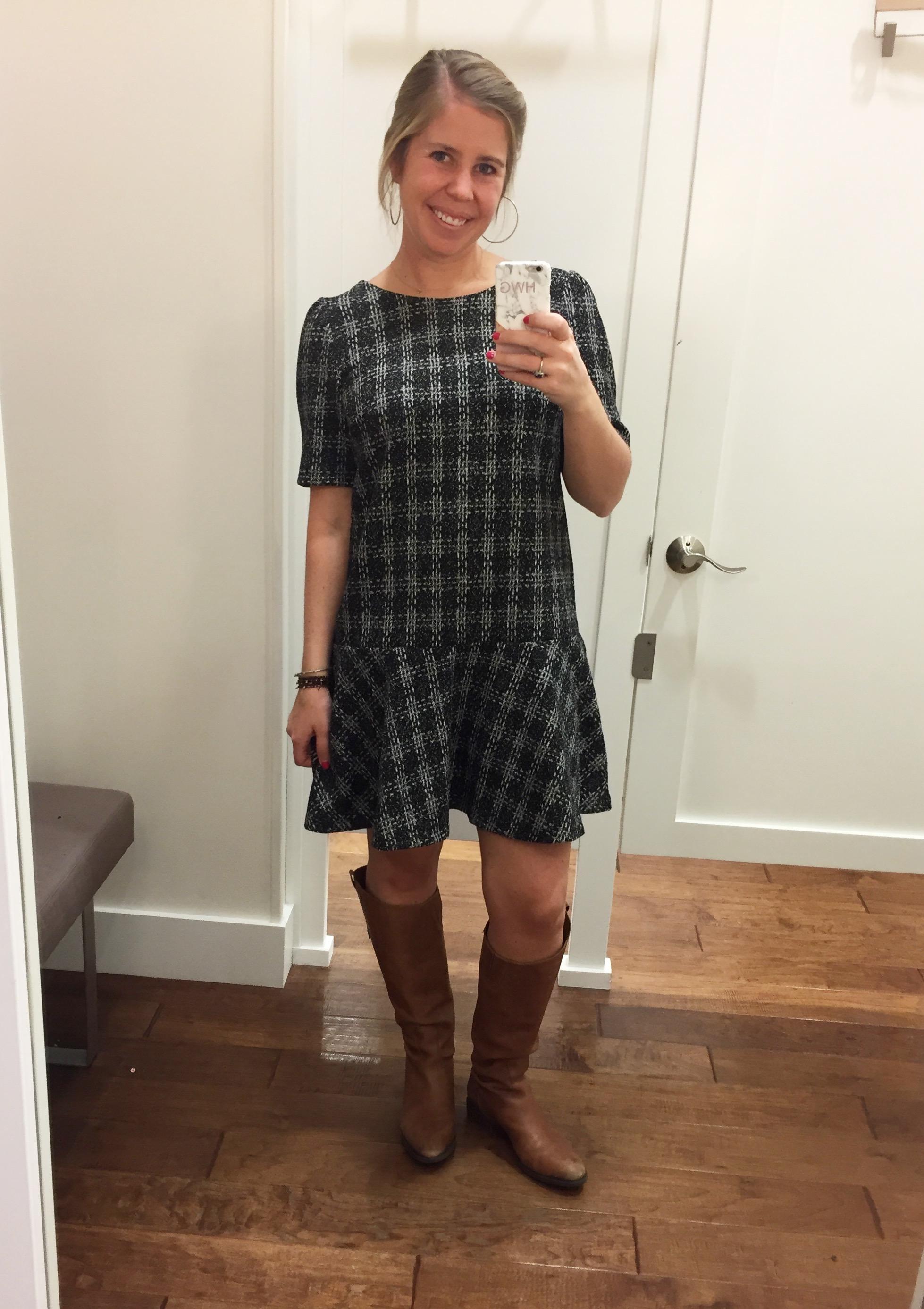 Flounce Dress  //  Boots  //  Earrings