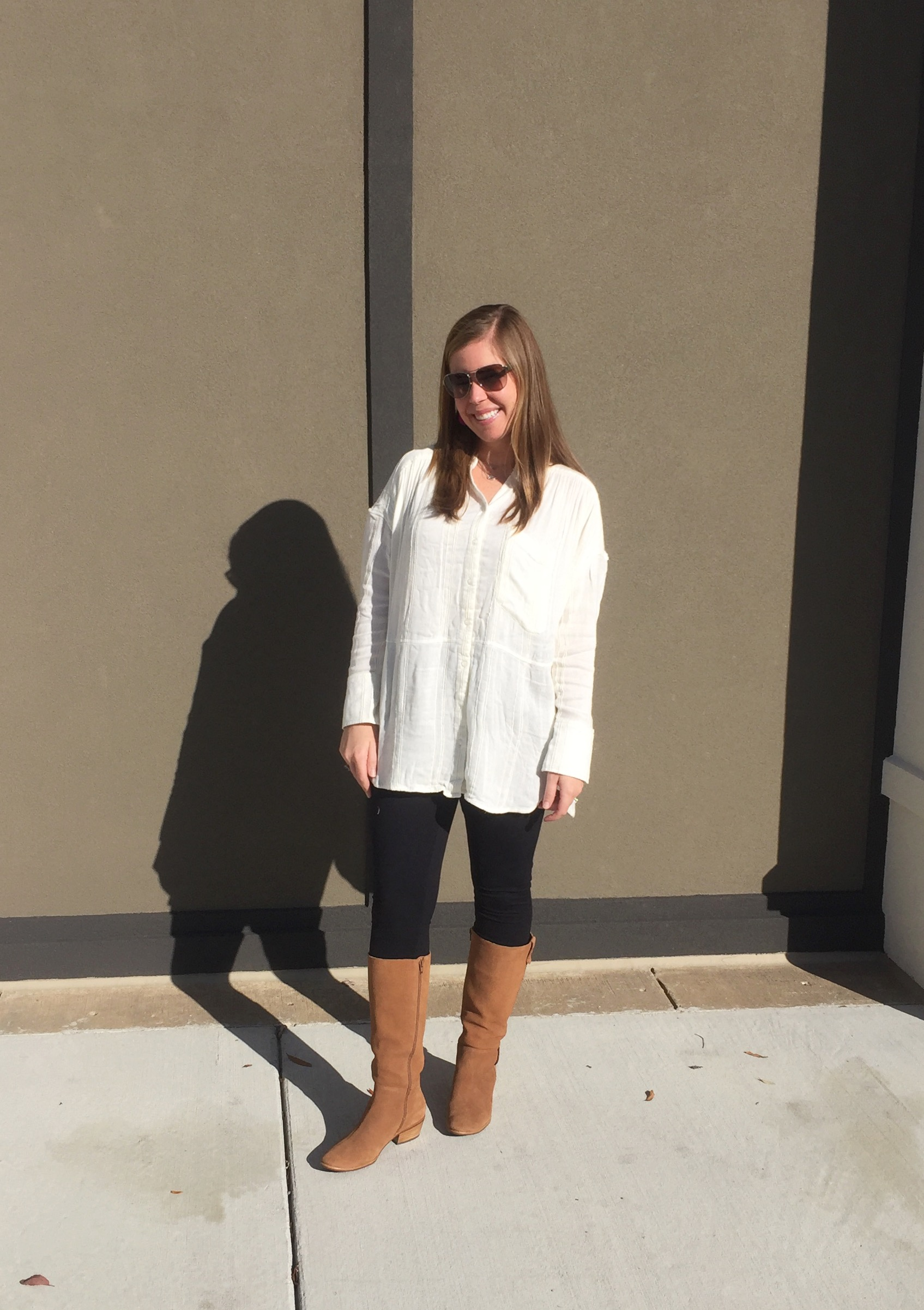 White Top  //  Leggings  //  Boots  //  Sunglasses  //  Earrings  //  Necklace