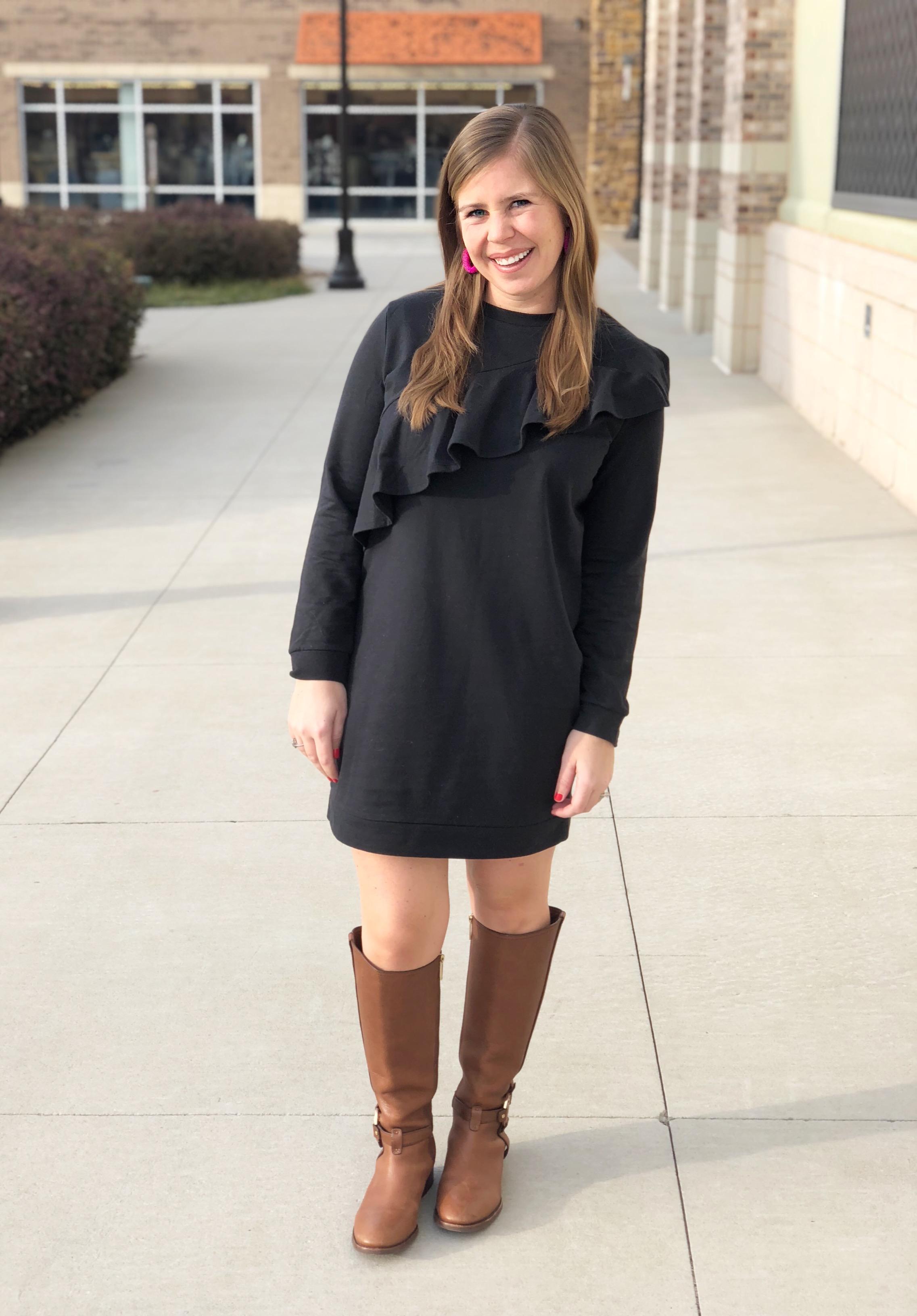Sweatshirt Dress,  in grey //  Similar Boots  //  Earrings