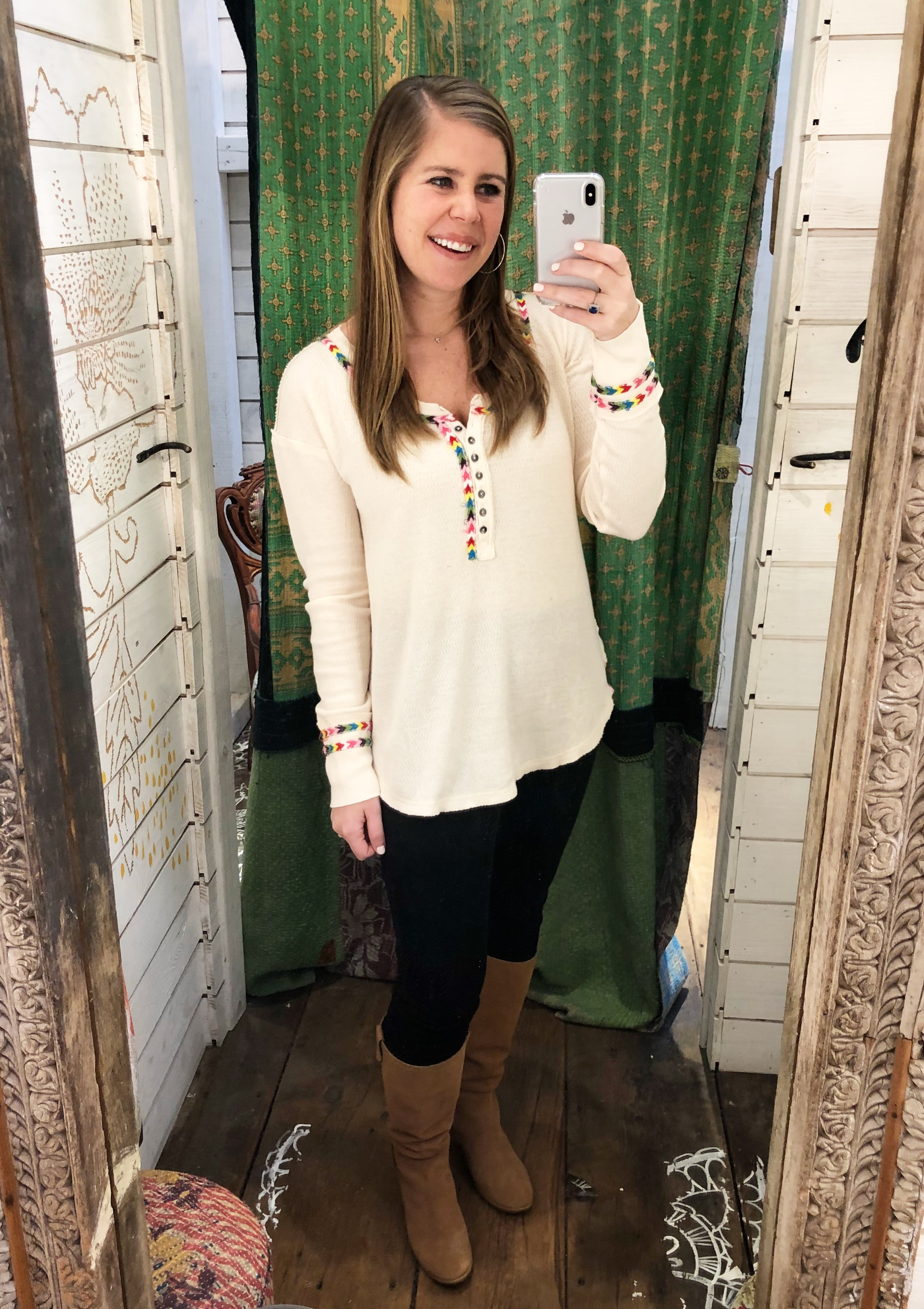 Free People Embroidered Thermal //  Black Jeans  //  Boots