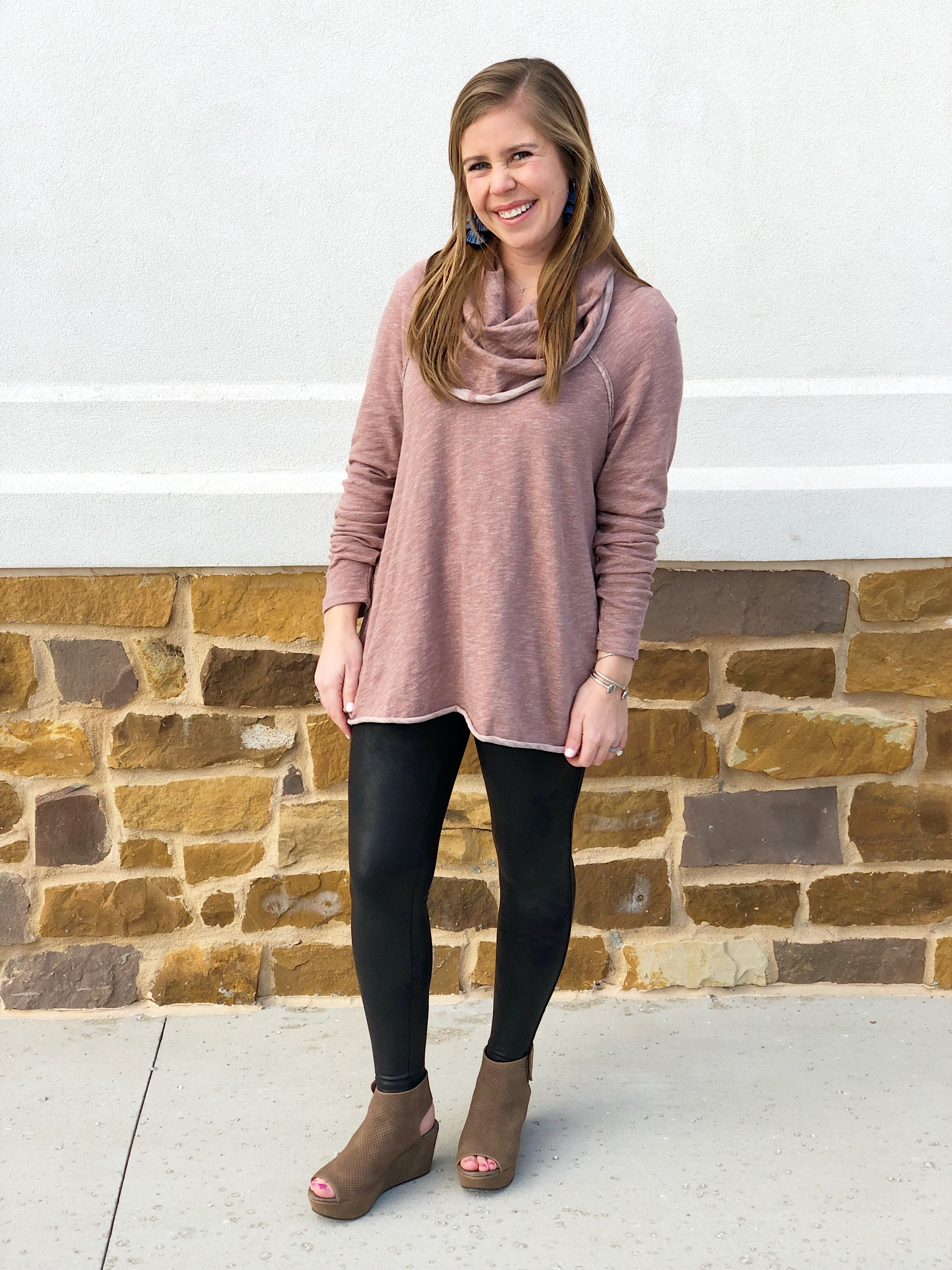 Free People Cowl Neck Sweater  //  Faux Leather Leggings  //  Shoes