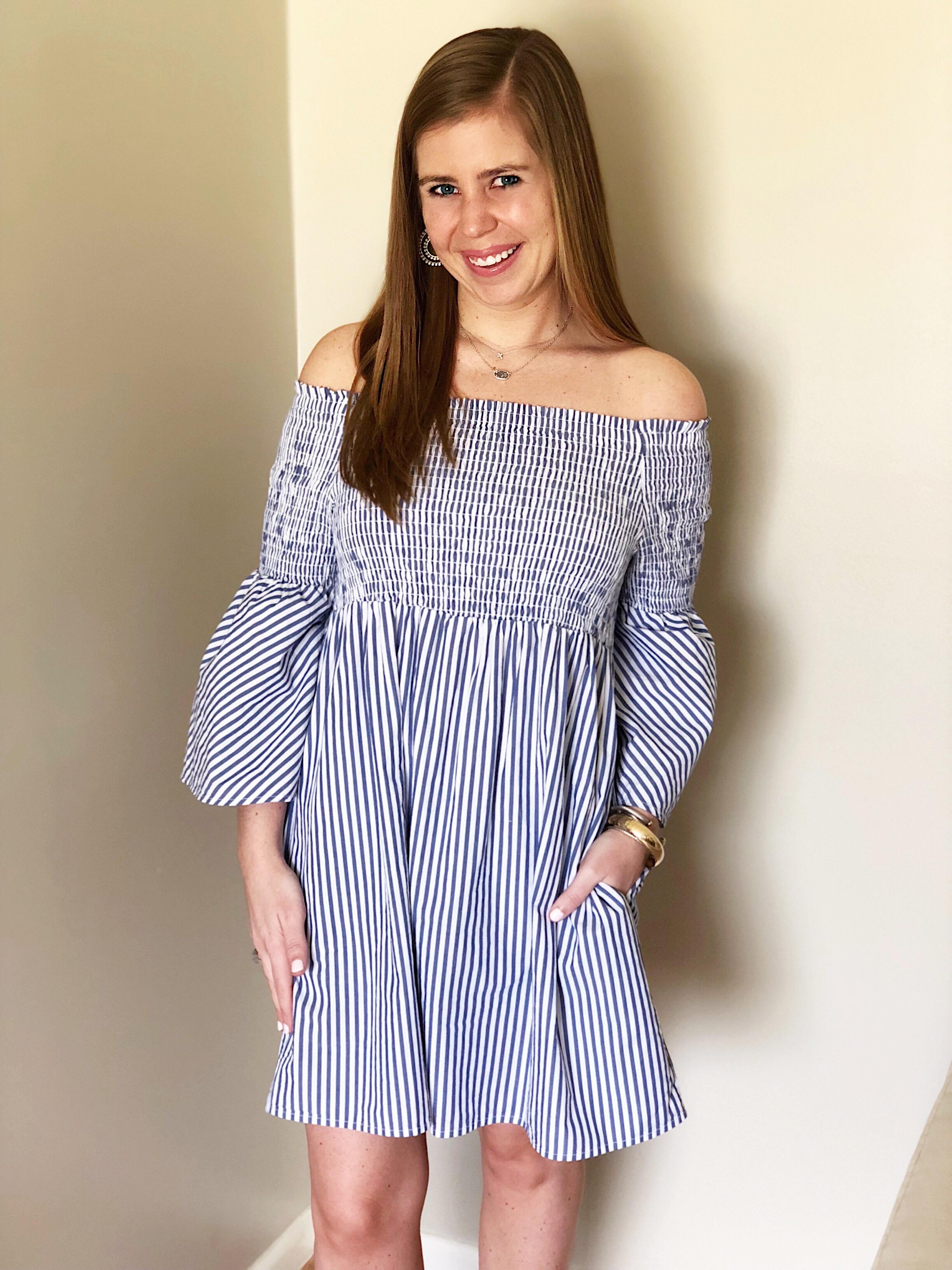 Option 2-   Blue & White Striped Dress