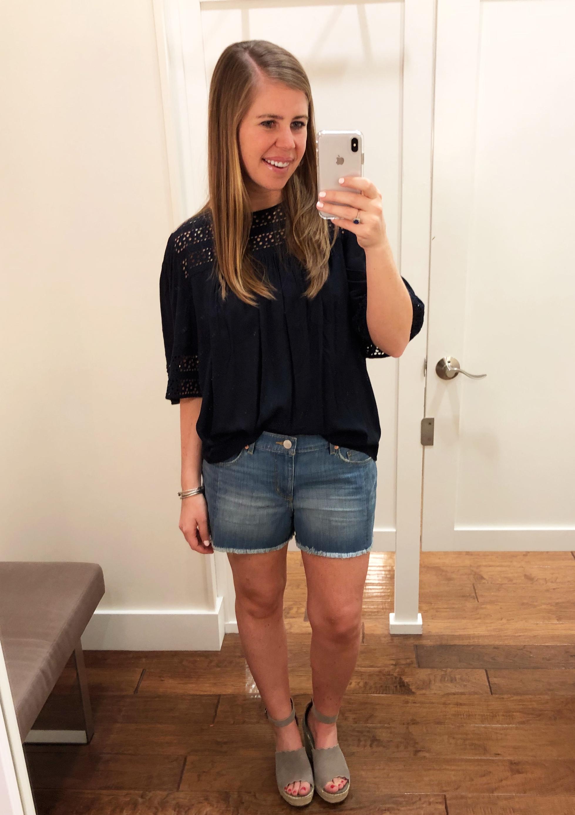 Navy Top  //  Denim Shorts