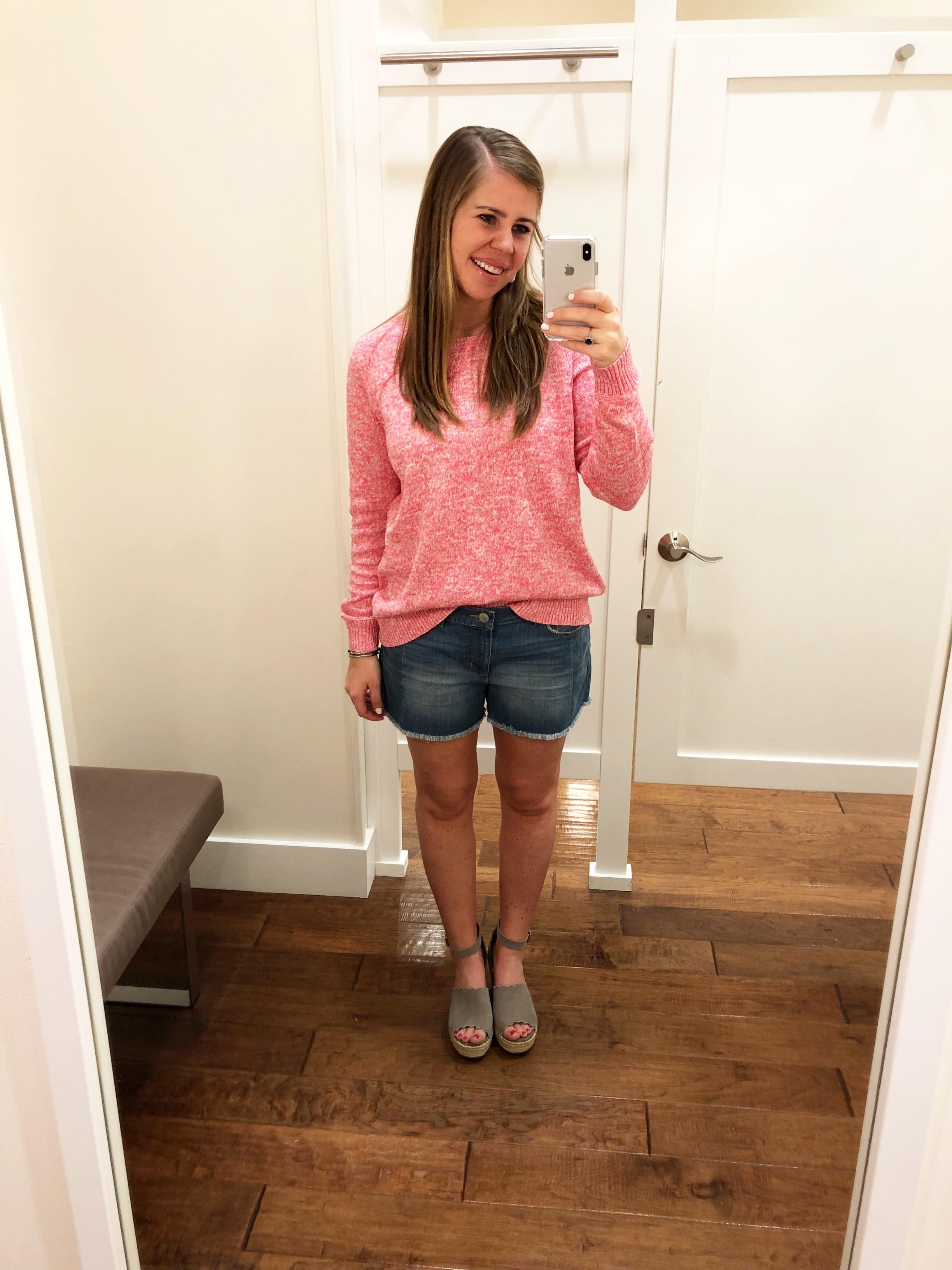 Pink Sweater  //  Denim Shorts