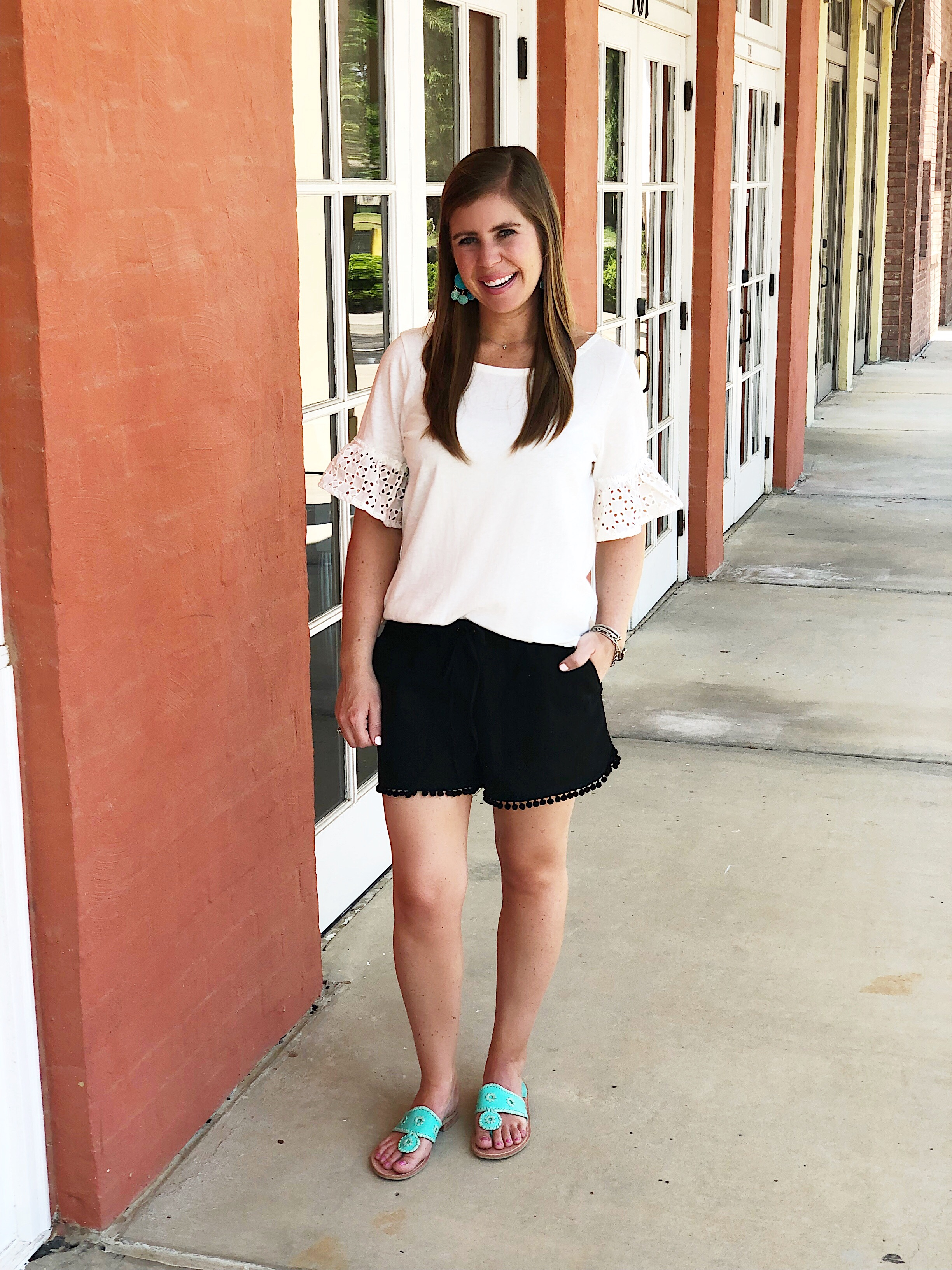 Jack Rogers sandals are my favorite shoes to wear in the summer! My exact color is not included in the sale, but you can    click here    to see the blue and yellow pairs that are 30% off!