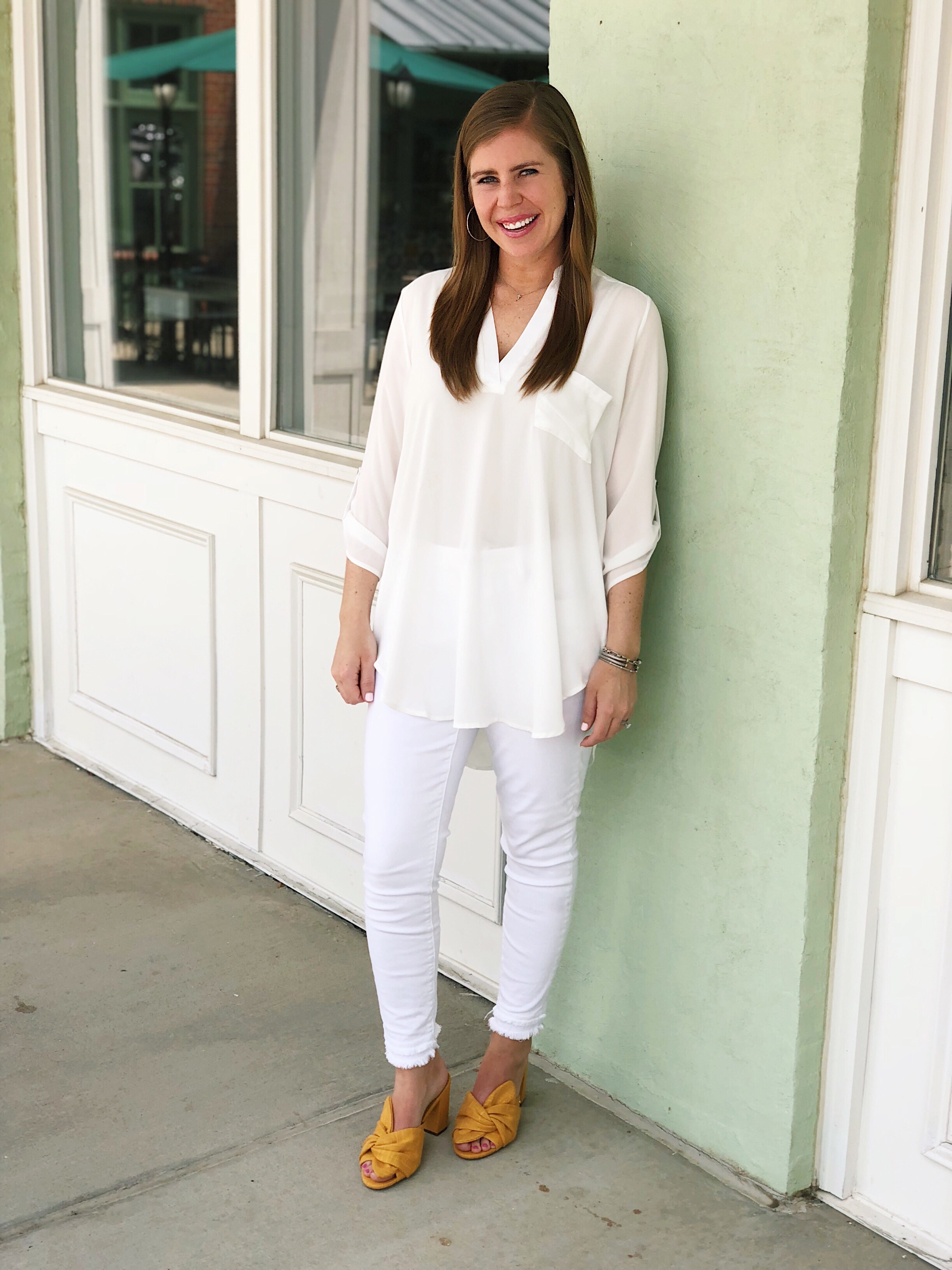 Roll Tab Sleeve Tunic-    I have this tunic in black and white. It comes in lots of colors and is a closet staple that can be worn all year long!     My shoes    are on sale too! This color is no longer available, but they do come in 5 other colors.    These shoes    are similar and are also made by Sam Edelman. I want them in all the 5 pretty colors they come in.