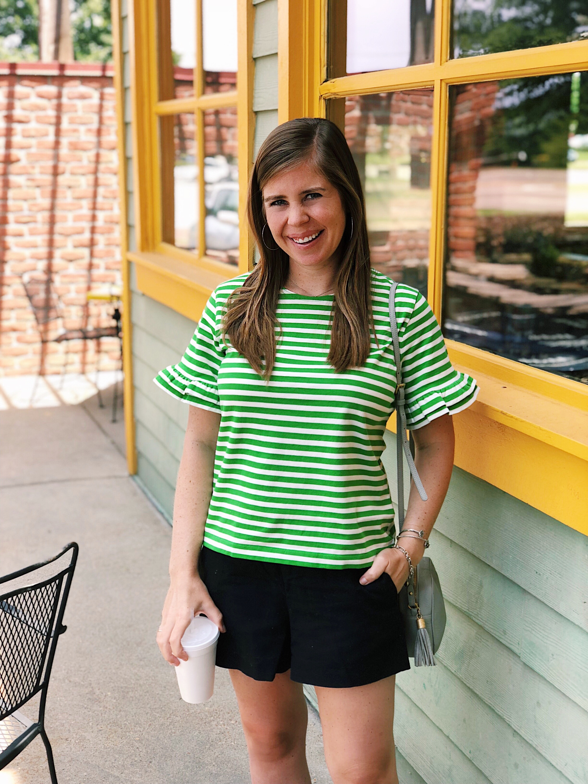 Ruffle Sleeve Top    (Runs small- I sized up one size to a large.)