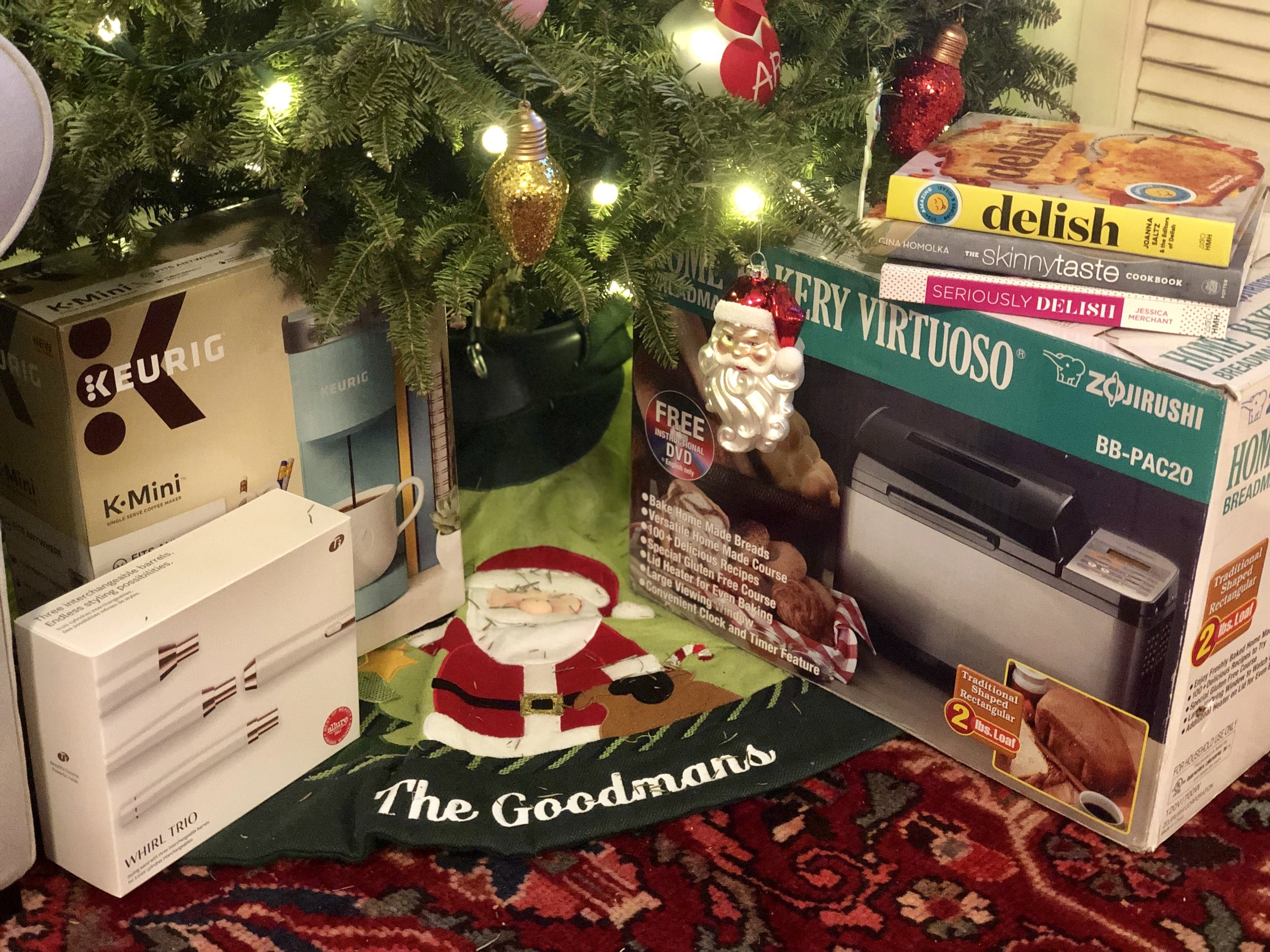 My Gifts-     Keurig     |     T3 Interchangeable Curling Wands      Parker's Gifts-     Bread Maker    |  Cookbooks:     delish,       Seriously Delish,       Skinnytaste