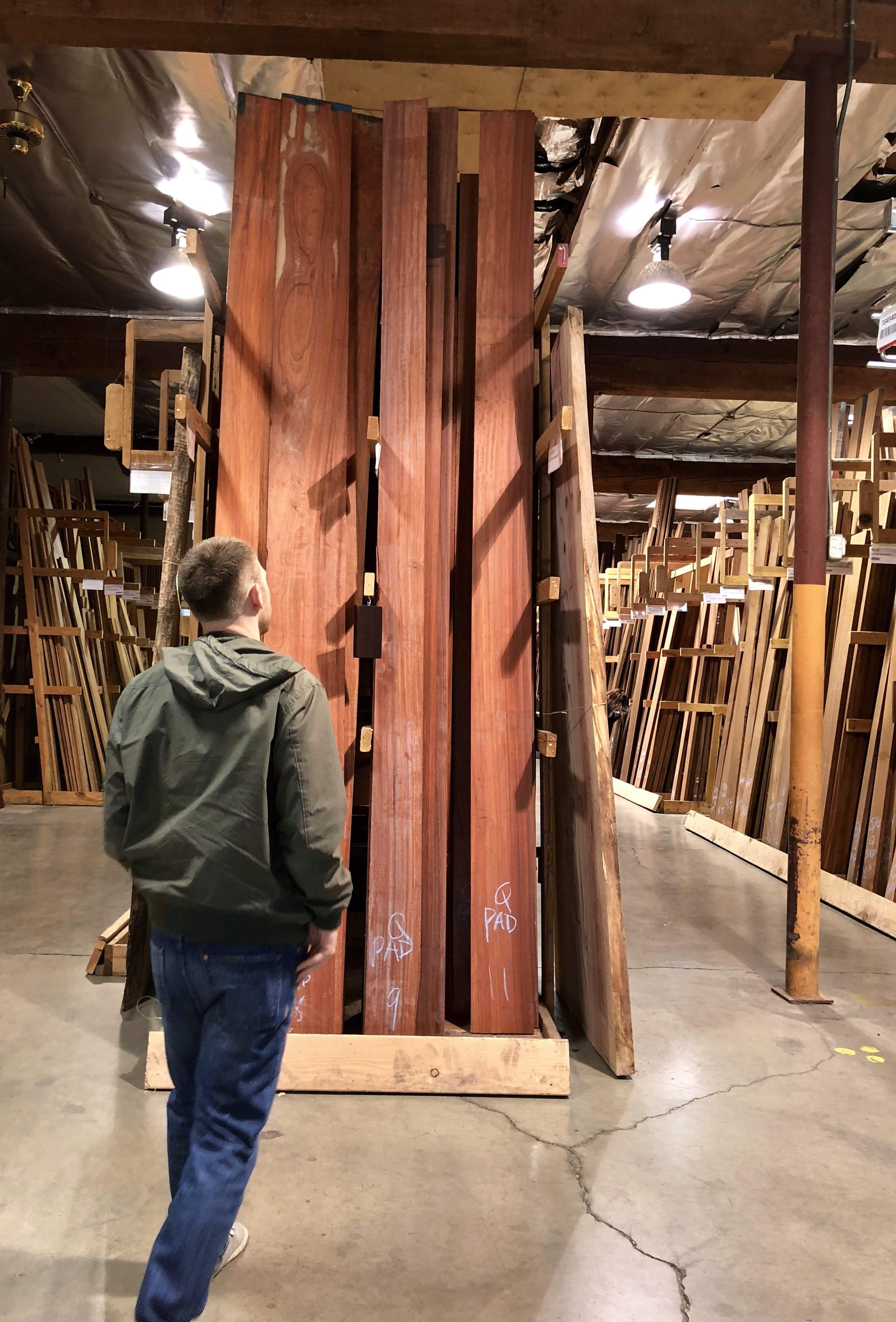 this was Jordan's little piece of heaven. we got to check out a sweet local lumber shop. he was like a kid in a candy shop. such beautiful pieces of wood were there. Jordan was loving every minute of it.