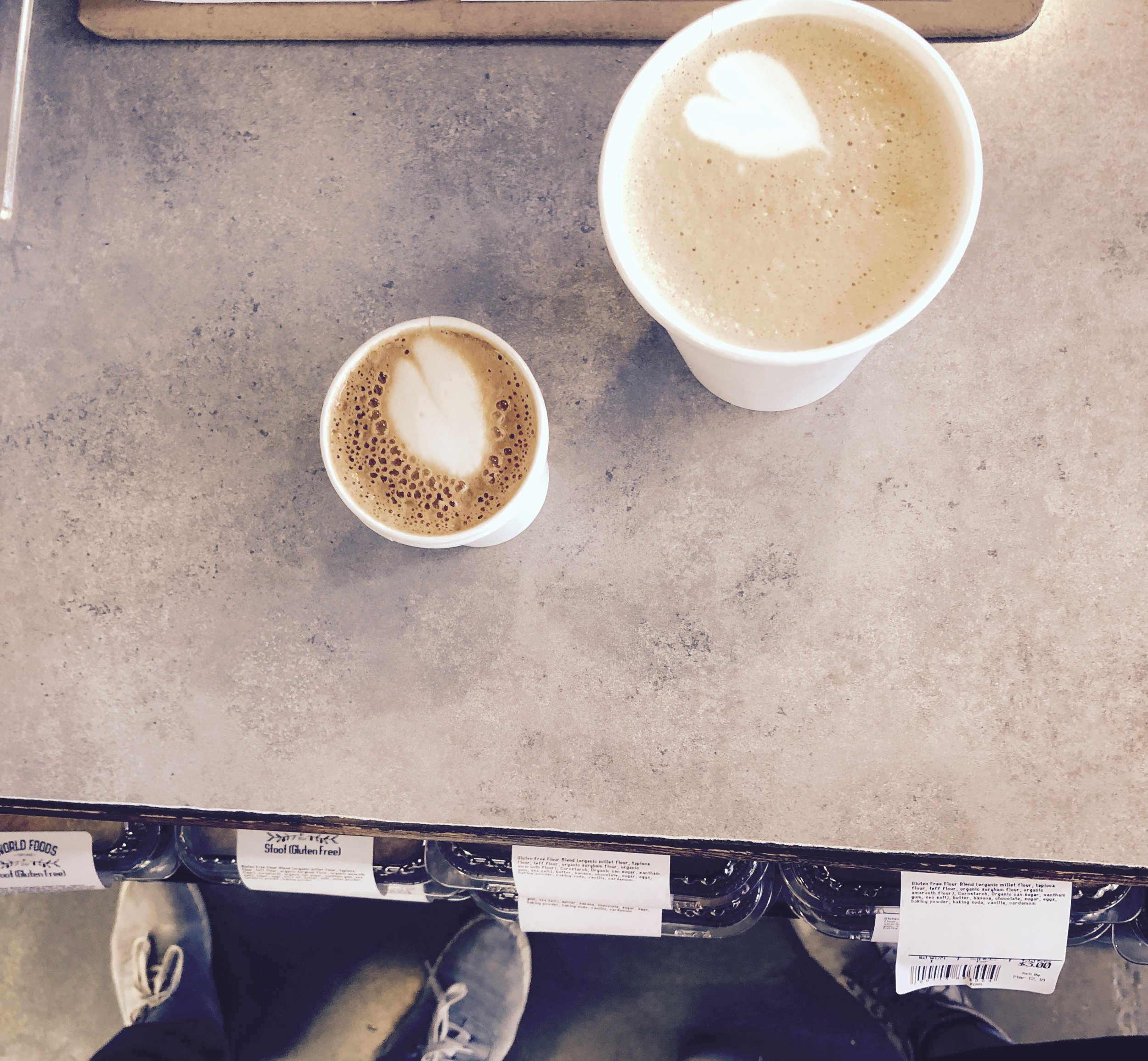 a cortado for him and a vanilla latte for her. both filled with love and goodness.