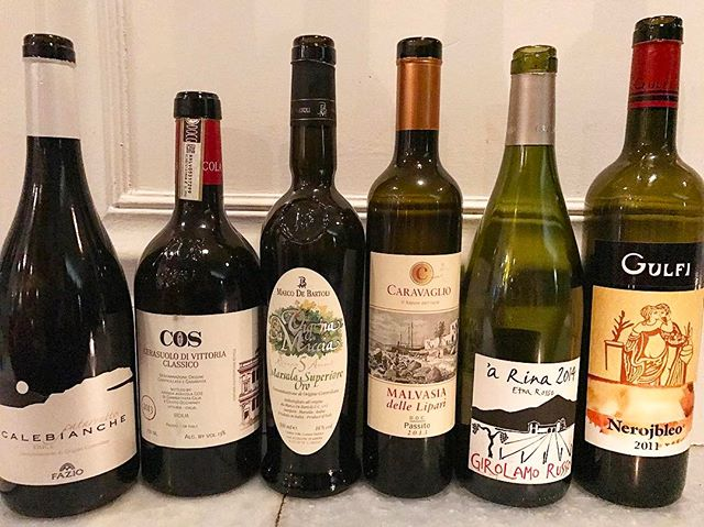Beauties from Sicily - our line up for the wine class today, a big success !