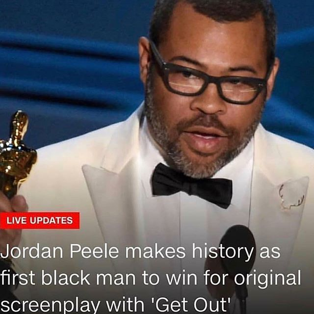 Whaaaad???!!! @jordanpeele just took home the Oscar?! Get out!!! Congratulations to @jordanpeele!  Represent! 👊🏾 ✊🏾 #blackboyjoy #oscars #2018 #getout #blackexcellence