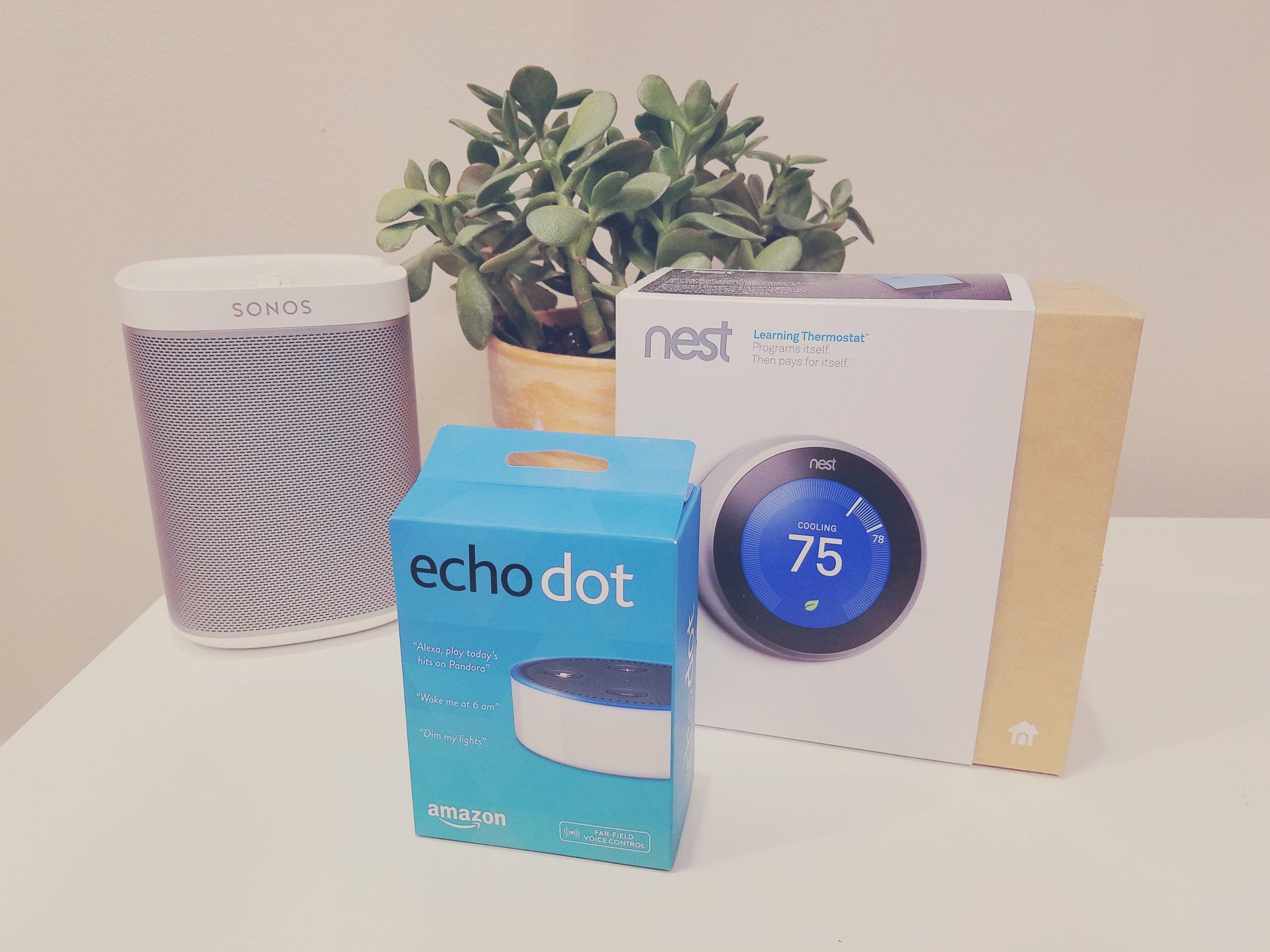 Amazon Alexa Compatible Devices, Sonos Speaker, Amazon Echo Dot & Nest Thermostat Generation 3