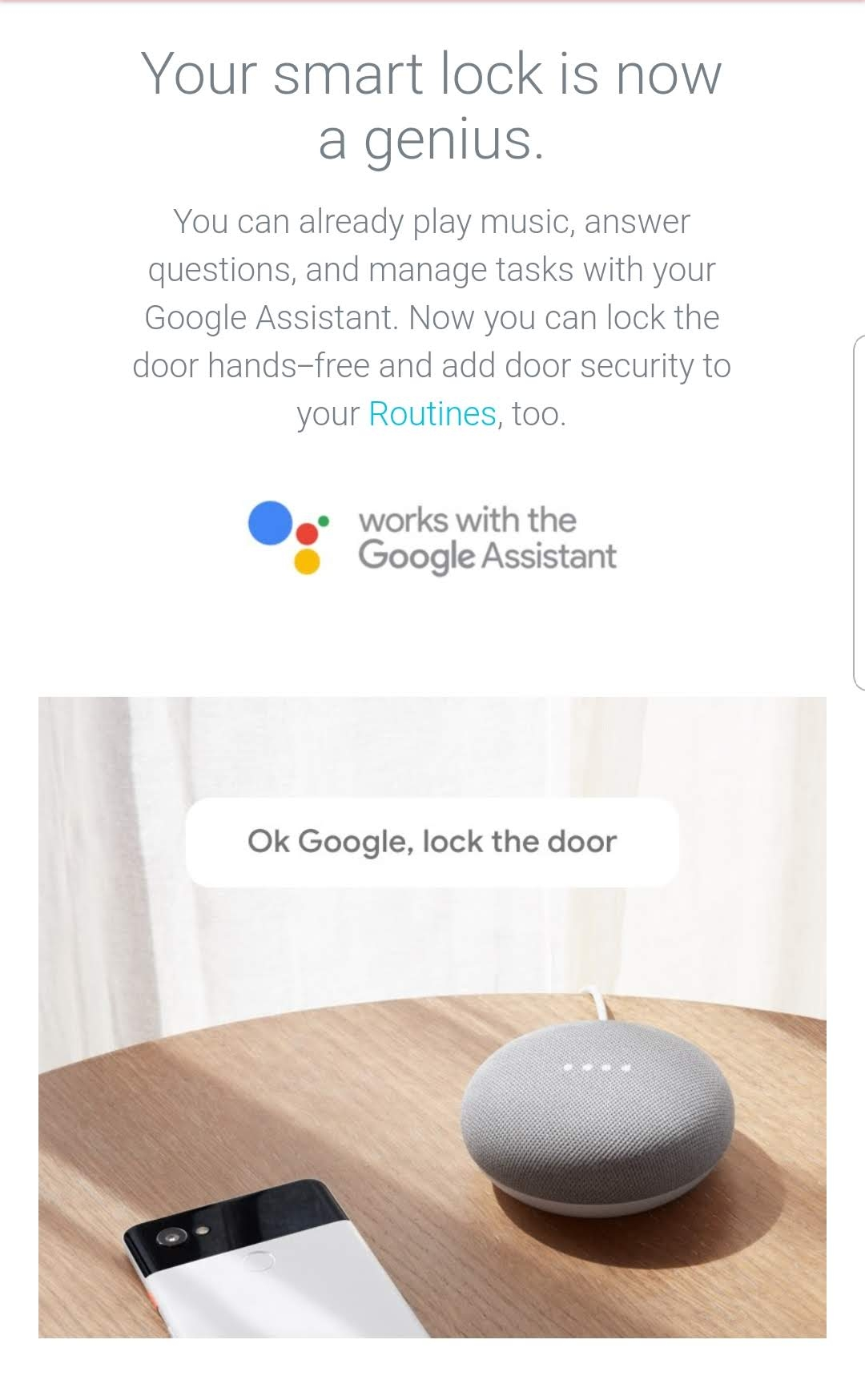NEst Smart Lock Now Works With Google Home To Lock The Nest X Yale Lock With Voice.