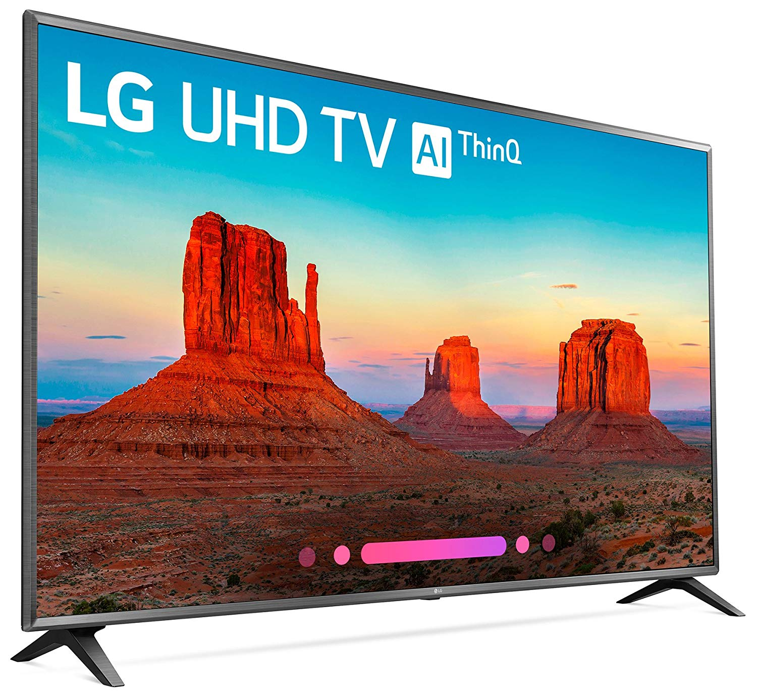 "75"" LG TV that works with Google Home.  This smart 4K will work with compatible Google Home devices like the Google Home Hub and Google Home Mini to allow for full voice control of your TV."