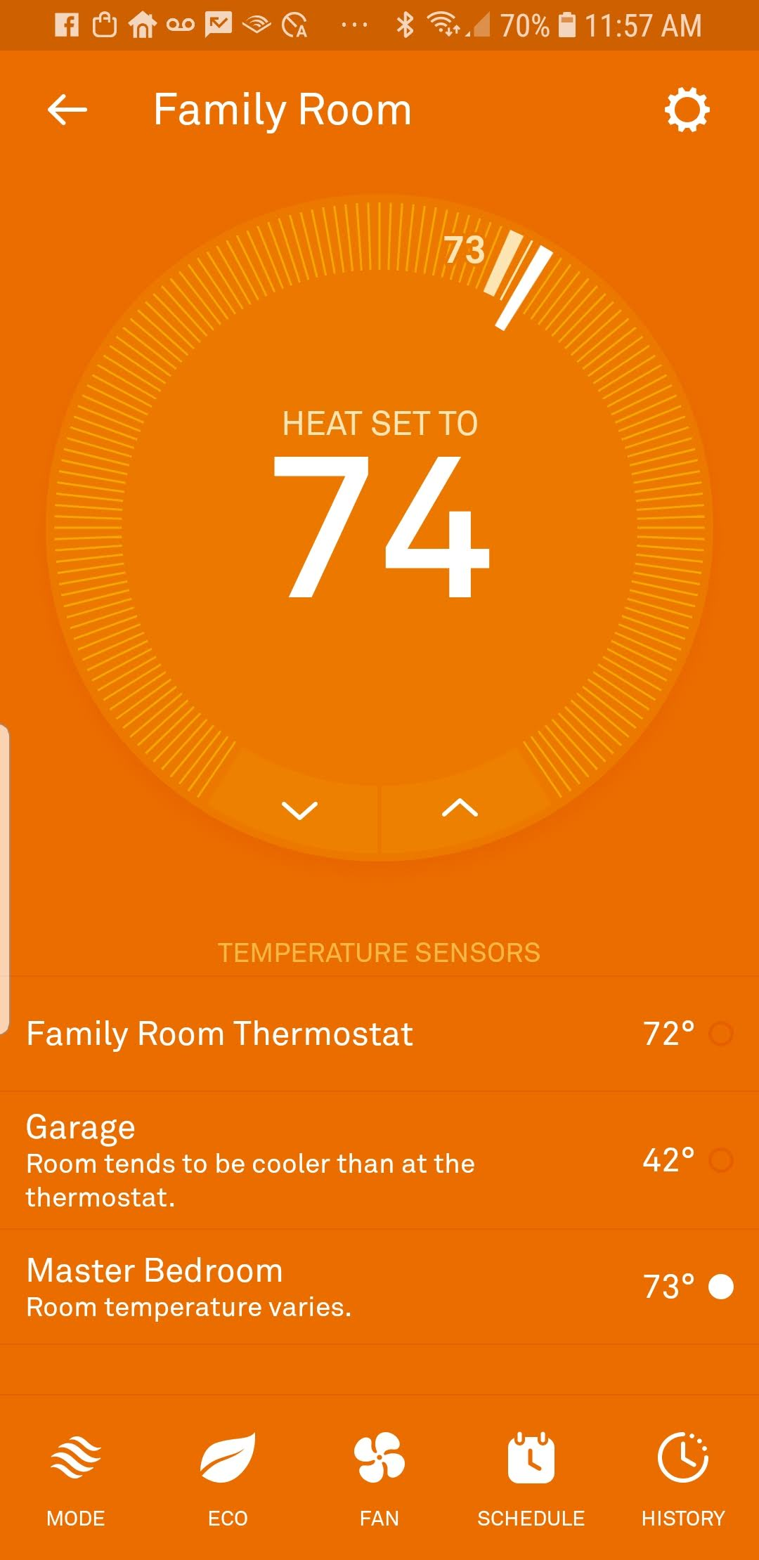 The Nest Room Sensor information shows up underneath the Nest Thermostat information. You can toggle between rooms you would like to control the temperature for.