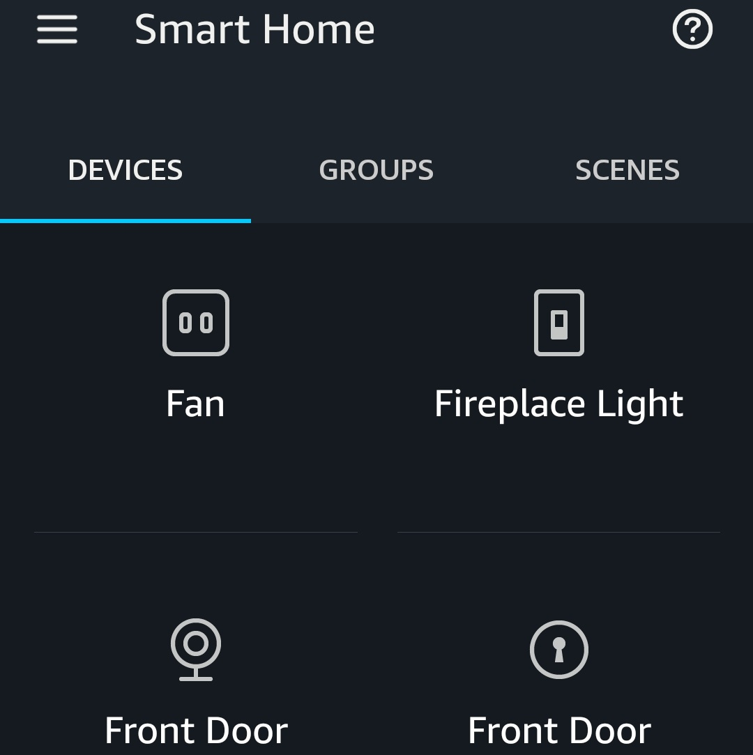 """The  Ring Door View Cam  Shows up As the """"front Door"""" in the Alexa. The Other """"Front Door"""" item in the screen is a Smart Lock Compatible With Alexa."""