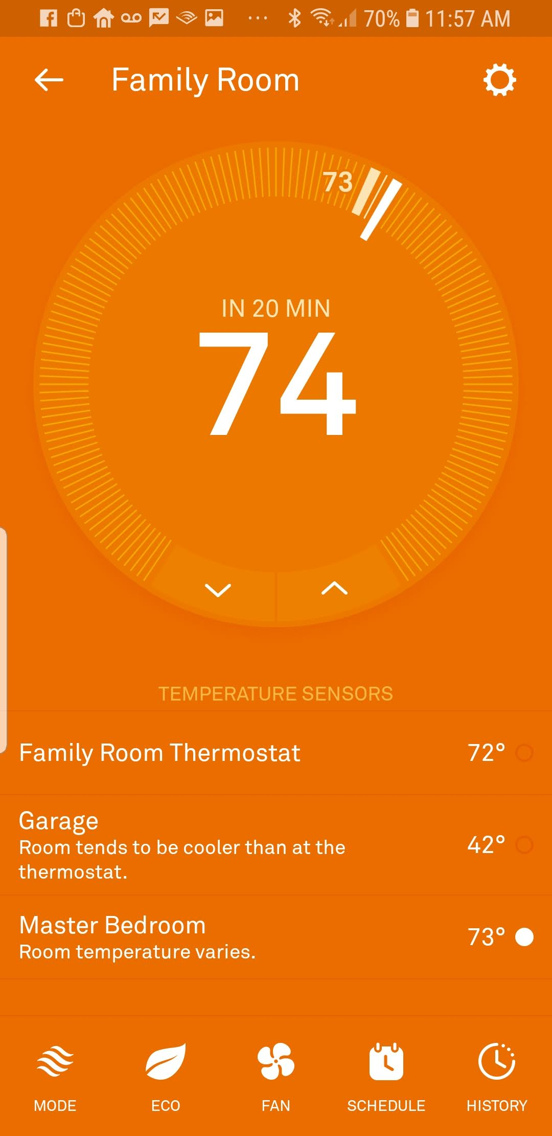 Nest Thermostat App Control Screen