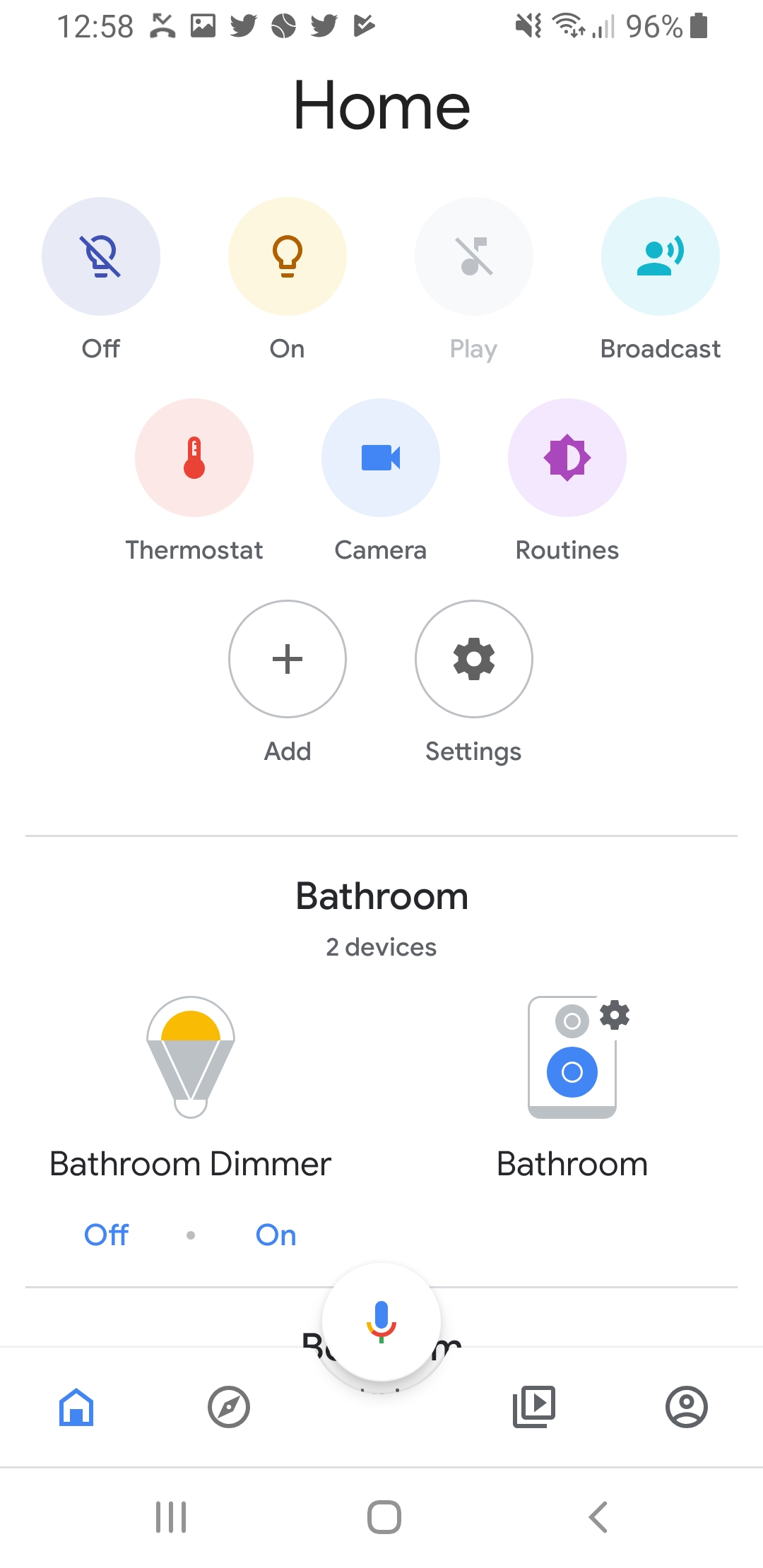 Smart Lights Switches That Work With Google Home  on Google Home App Interface